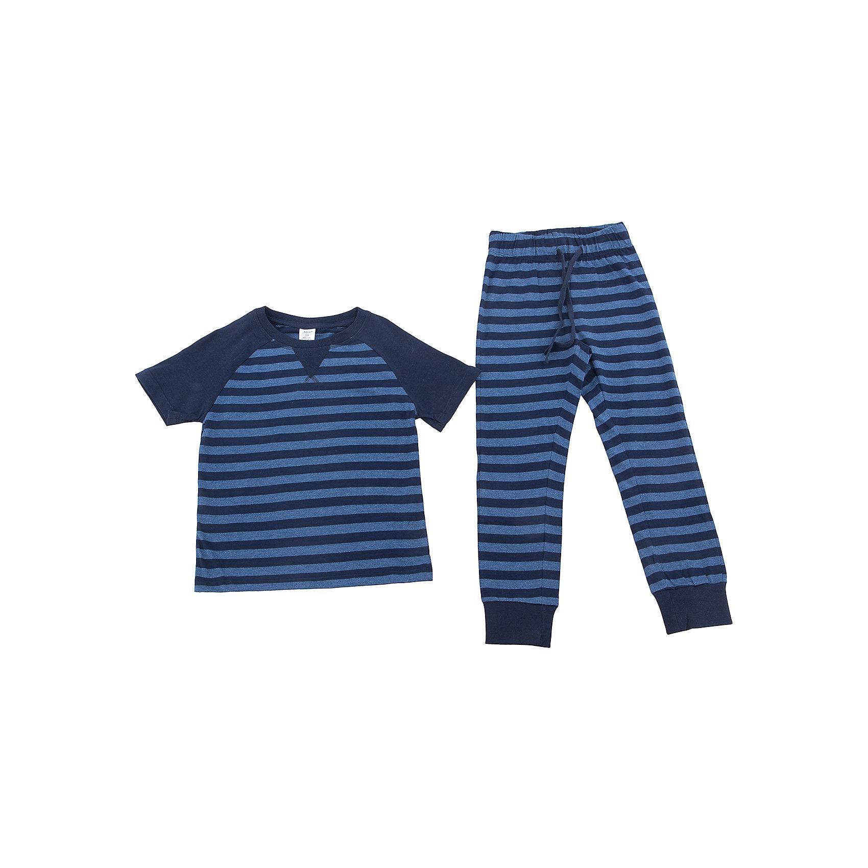 Пижама SELA для мальчикаПижамы и сорочки<br>Характеристики товара:<br><br>• цвет: синий<br>• состав ткани: 60% хлопок, 40% полиэстер<br>• комплектация: футболка, брюки<br>• сезон: круглый год<br>• особенности модели: спортивный стиль<br>• короткие рукава<br>• пояс: резинка, шнурок<br>• страна бренда: Россия<br>• страна производства: Индия<br><br>Эта пижама для мальчика поможет обеспечить ребенку комфорт. Синяя детская пижама - универсальная и удобная вещь. Эта пижама для ребенка сшита из материала, в составе которого - натуральный хлопок. А значит трикотажная пижама позволяет коже дышать, не вызывает аллергии, долго служит и легко стирается.<br><br>Пижаму для мальчика Sela (Села) можно купить в нашем интернет-магазине.<br><br>Ширина мм: 281<br>Глубина мм: 70<br>Высота мм: 188<br>Вес г: 295<br>Цвет: синий<br>Возраст от месяцев: 120<br>Возраст до месяцев: 132<br>Пол: Мужской<br>Возраст: Детский<br>Размер: 104/110,116/122,128/134,140/146<br>SKU: 7032367
