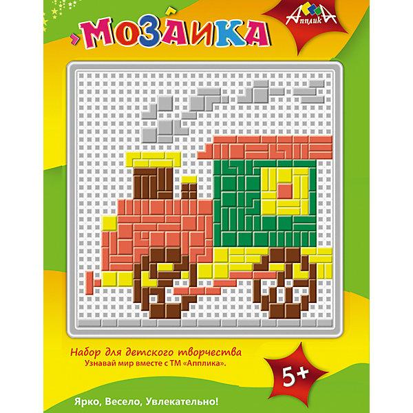 Набор для детского творчества. МозаикиМозаика детская<br>Характеристики:<br><br>• возраст: от 5 лет<br>• комплектация: 4 мозаики<br>• в наборах: пластиковая сетчатая основа, цветные пластиковые элементы мозаики, пластиковый инструмент - щипчики<br>• размер упаковки: 25х18х8 см.<br>• вес: 530 гр.<br><br>Набор для детского творчества «Мозаики» поможет малышу собрать изображение вертолета, машины, паровоза и птички. Нужно просто положить цветной образец под сетчатую основу и с помощью маленьких цветных «гвоздиков» собрать мозаику.<br><br>Мозаика – эффективный способ для развития мелкой моторики малыша. Захватывая пальчиками мелкие детали, он тренирует ловкость, координацию, стимулирует тактильную чувствительность.<br><br>Набор для детского творчества. «Мозаики» можно купить в нашем интернет-магазине.<br>Ширина мм: 250; Глубина мм: 180; Высота мм: 80; Вес г: 530; Возраст от месяцев: 60; Возраст до месяцев: 2147483647; Пол: Унисекс; Возраст: Детский; SKU: 7033659;