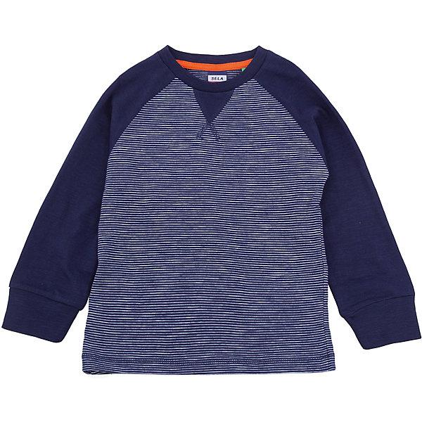 Джемпер SELA для мальчикаФутболки с длинным рукавом<br>Характеристики товара:<br><br>• цвет: синий<br>• состав ткани: 100% хлопок<br>• сезон: демисезон<br>• длинные рукава<br>• страна бренда: Россия<br>• страна производства: Бангладеш<br><br>Синий лонгслив для мальчика Sela - стильная молодежная вещь по доступной цене. Модный лонгслив для мальчика поможет разнообразить гардероб ребенка. Практичный детский лонгслив украшен оригинальным принтом. Футболка с длинным рукавом для ребенка сшита из качественного трикотажа, в составе которого преобладает натуральный хлопок. <br><br>Лонгслив для мальчика Sela (Села) можно купить в нашем интернет-магазине.<br><br>Ширина мм: 190<br>Глубина мм: 74<br>Высота мм: 229<br>Вес г: 236<br>Цвет: синий<br>Возраст от месяцев: 18<br>Возраст до месяцев: 24<br>Пол: Мужской<br>Возраст: Детский<br>Размер: 92,116,110,104,98<br>SKU: 7035307