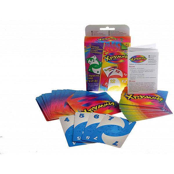 Настольная игра Хрумми, МагелланНастольные игры для всей семьи<br>Характеристики:<br><br>• возраст: от 6 лет<br>• комплектация: 72 карты (60 карт с числами от 1 до 12 синего, зелёного, красного, фиолетового и жёлтого цветов; 9 специальных карт); 3 карты «Возьми 3»); правила.<br>• количество игроков: от 2 до 4 человека<br>• время игры: 10-20 минут<br>• упаковка: картонная коробка<br>• размер упаковки: 14х10х3 см.<br>• вес: 130 гр.<br><br>Настольная игра «Хрумми» - игра на внимательность и быстроту реакции. Цель игры - избавиться от своих карт, выкладывая их определенным образом.<br><br>В состав игры входят карты с числами от 1 до 12 пяти цветов, а также специальные карты. Перед началом игры колода карт делится поровну между игроками. В игре нет очередности ходов, все ходят одновременно.<br><br>Игрок должен выложить на стол ряд или набор карт. Ряд - это 3 или больше карт одного цвета с числами, идущими по порядку (например, синие тройка, четверка, пятерка). Набор - это 3 или больше карт с одинаковыми числами любого цвета (например, зеленая, синяя и красная семерки). Кроме того, можно присоединиться к чужим рядам и наборам и собрать из них собственные. Специальные карты могут заменить недостающие карты в ряду или наборе. Игрок, который первым сбросит все свои карты, выигрывает в раунде. Игра продолжается 4 раунда.<br><br>Настольную игру Хрумми, Магеллан можно купить в нашем интернет-магазине.<br><br>Ширина мм: 140<br>Глубина мм: 100<br>Высота мм: 30<br>Вес г: 130<br>Возраст от месяцев: 72<br>Возраст до месяцев: 2147483647<br>Пол: Унисекс<br>Возраст: Детский<br>SKU: 7036624