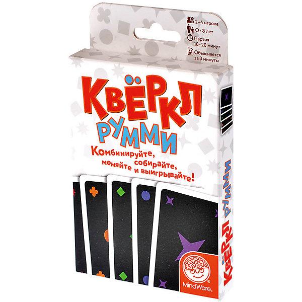 Настольная игра Квёркл румми, МагелланСтратегические настольные игры<br>Характеристики:<br><br>• возраст: от 8 лет<br>• комплектация: 108 карт с фигурами разных цветов (каждая карта повторяется по 3 раза); правила игры с иллюстрациями-примерами.<br>• материал: картон<br>• количество игроков: от 2 до 4 человек<br>• время игры: 10-20 минут<br>• упаковка: картонная коробка<br>• размер упаковки: 16х11х3 см.<br>• вес: 195 гр.<br><br>Настольная игра «Квёркл румми» - это веселая карточная игра для всей семьи.<br><br>Правила достаточно просты - как и в классической игре «Румми», в этой нужно составить наборы из карт, которые будут скомбинированы по формам и цветам изображенных на них фигур. Например, квадраты разного цвета — это набор. Красные фигуры — тоже набор. Игроки по очереди выкладывают свои карты на стол, собирая наборы. Каждый игрок может добавлять карты из чужого набора, но квёркл засчитывается только тому игроку, который закончил набор из 6 карт.<br><br>Игра «Квёркл Румми» учит системному мышлению и развивает интеллект.<br><br>Настольную игру Квёркл румми, Магеллан можно купить в нашем интернет-магазине.<br><br>Ширина мм: 160<br>Глубина мм: 110<br>Высота мм: 30<br>Вес г: 195<br>Возраст от месяцев: 96<br>Возраст до месяцев: 2147483647<br>Пол: Унисекс<br>Возраст: Детский<br>SKU: 7036635