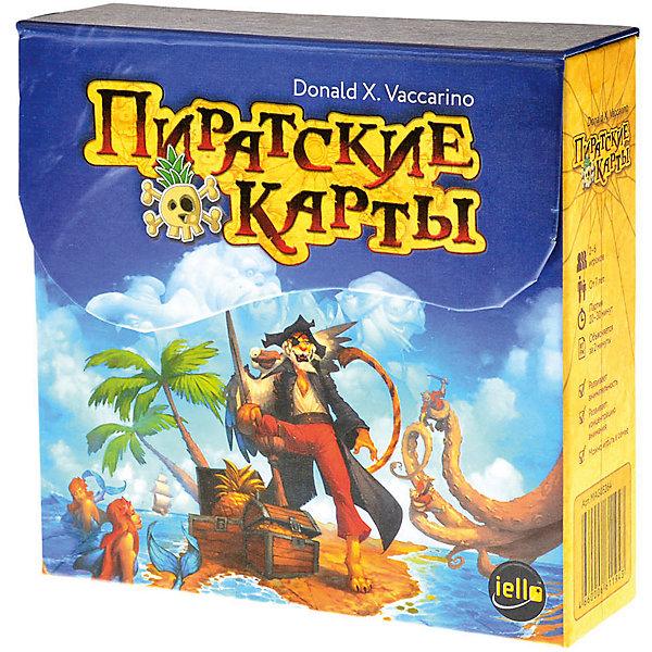 Настольная игра Пиратские карты, МагелланНастольные игры для всей семьи<br>Характеристики:<br><br>• возраст: от 7 лет<br>• комплектация: 55 карт пиратов; 40 карт приключений; правила.<br>• материал: картон<br>• количество игроков: от 2 до 6 человек<br>• время игры: 30 минут<br>• упаковка: картонная коробка<br>• размер упаковки: 13х15х4 см.<br>• вес: 220 гр.<br><br>Карта, которая ведет к легендарному сокровищу, была разорвана на четыре части и разбросана по всему Карибскому морю. Вы должны первым собрать её воедино и стать самым знаменитым пиратом всех времен.<br><br>В начале игры на столе раскладываются 2 закрытые колоды карт (пиратов и приключений). Рядом с колодой карт пиратов кладется одна открытая карта пирата - это колода сброса. Игрокам раздаётся по 8 карт. Все ходят по часовой стрелке: если у игрока есть карта с таким же пиратом, как на верхней карте колоды сброса — нужно положить её сверху. Если такой карты нет, придётся взять карту из закрытой колоды пиратов и передать ход следующему. Но все не так просто, есть еще карты приключений, которые могут менять основные правила. Например, выложена карта с условием, что если игрок ходит обезьяной, то должен отдать ещё одну карту другому игроку. Задача игроков сбросить все карты с руки. Тот, кто сбросил все свои карты, подучает три карты из колоды приключений и читает текст на них. Одну по выбору оставляет себе – это будет часть карты сокровищ. Вторую кладет обратно в колоду приключений. Третью выкладывает на стол. И игра продолжается. Задача игрока собрать четыре части карты сокровищ.<br><br>Настольная игра «Пиратские карты» — это достаточно простая и скоростная игра, в которой всё время что-то меняется, поэтому нужна внимательность и концентрация, которые неплохо тренируются в процессе. Игра подойдёт для всей семьи. Особенно она понравится любителям пиратской тематики, и тем, кто смотрел всех «Пиратов Карибского моря».<br><br>Настольную игру Пиратские карты, Магеллан можно купить в нашем интернет-магазине.<br><br>
