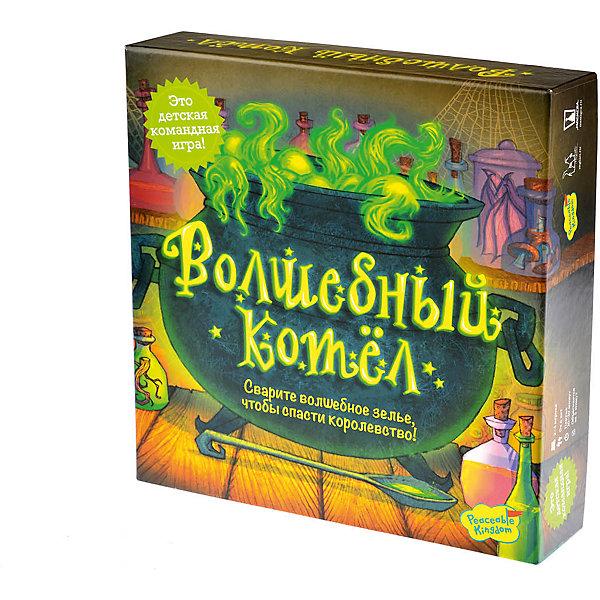 Настольная игра Волшебный котел, МагелланНастольные игры ходилки<br>Характеристики:<br><br>• возраст: от 6 лет<br>• комплектация: 6 разных зелий (зелёные флаконы): 6 алхимических ингредиентов (тухлое яйцо, ядовитый гриб, рогатая жаба, глаз тритона, корень одуванчика, крыло летучей мыши); 6 препятствий; шляпа колдуна на подставке; жетон разрушения заклятия; круглое большое игровое поле; 2 шестигранных кубика действия; 3 шестигранных волшебных кубика; правила игры.<br>• материал: картон, пластик<br>• количество игроков: от 2 до 6 человек<br>• время игры: 20-30 минут<br>• упаковка: картонная коробка<br>• размер упаковки: 26х26х6 см.<br>• вес: 700 гр.<br><br>Злой колдун наложил страшное заклятие на королевство. Только особое волшебное зелье из трех специальных ингредиентов сможет остановить его. Вы играете за отважных алхимиков и магов, варящих зелье. Ваша задача — найти спрятанные ингредиенты для создания зелья и доставить их в котёл в центре игрового поля до того, как колдун перекроет вам пути с помощью своих приспешников.<br><br>Настольная игра «Волшебный котёл» - это командная игра, которая учит детей договариваться. Игра развивает стратегическое мышление, учит решать поставленные задачи и следовать инструкциям.<br><br>Настольную игру Волшебный котел, Магеллан можно купить в нашем интернет-магазине.<br><br>Ширина мм: 260<br>Глубина мм: 260<br>Высота мм: 60<br>Вес г: 700<br>Возраст от месяцев: 72<br>Возраст до месяцев: 2147483647<br>Пол: Унисекс<br>Возраст: Детский<br>SKU: 7036639