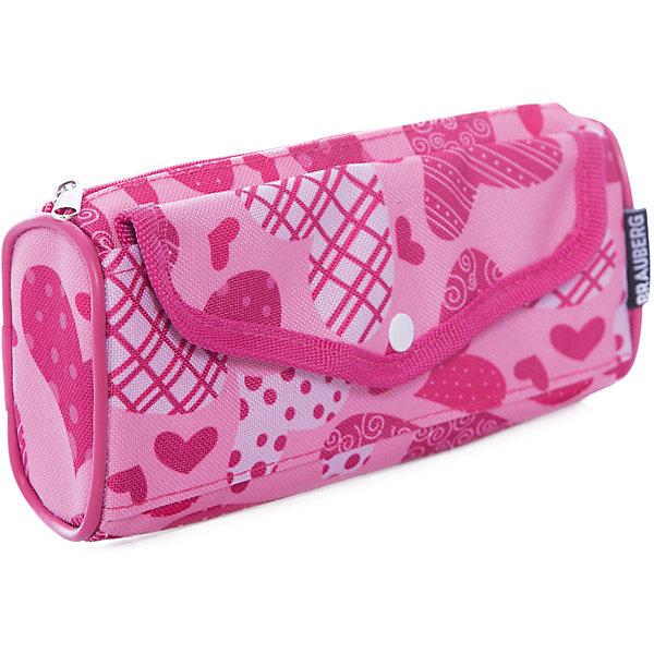 Пенал-косметичка BRAUBERG полиэстер, розовый, Каприз, 21*5*8смПеналы без наполнения<br>Удобный, легкий и вместительный пенал-косметичка выполнен в розовых тонах и украшен принтом в виде сердечек.<br>Ширина мм: 9; Глубина мм: 22; Высота мм: 4; Вес г: 71; Возраст от месяцев: 72; Возраст до месяцев: 216; Пол: Женский; Возраст: Детский; SKU: 7036853;