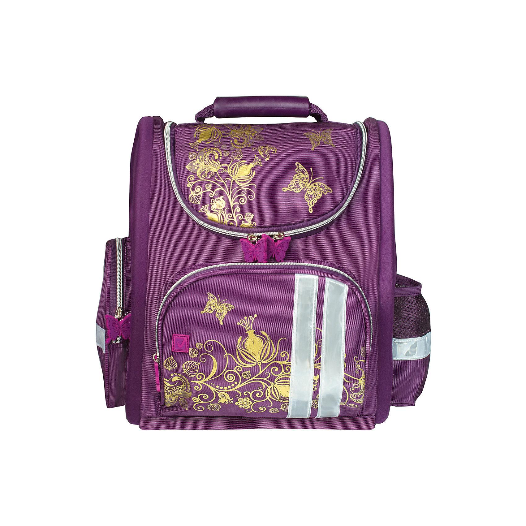 Ранец жесткокаркасный BRAUBERG для начальной школы, девочка, Цветы, 16 литров, 28*14*32 смРанцы<br>Ранец Золотые цветы предназначен для девочек 7-10 лет. Он выполнен в благородных фиолетовых тонах, украшен золотым узором переплетенных цветов и бабочками.<br><br>Ширина мм: 285<br>Глубина мм: 385<br>Высота мм: 135<br>Вес г: 900<br>Возраст от месяцев: 72<br>Возраст до месяцев: 216<br>Пол: Женский<br>Возраст: Детский<br>SKU: 7036859