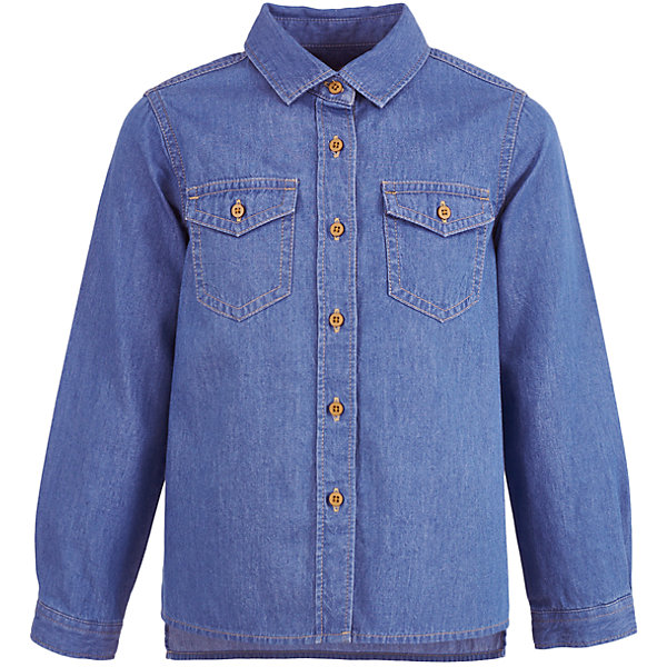 Джинсовая рубашка Button Blue для девочкиБлузки и рубашки<br>Характеристики товара:<br><br>• цвет: синий;<br>• состав: 100% хлопок;<br>• сезон: демисезон;<br>• особенности: джинсовая;<br>• застежка: пуговицы;<br>• свободный прямой силуэт;<br>• манжеты рукавов на пуговице;<br>• два накладных кармана на пуговице;<br>• страна бренда: Россия;<br>• страна изготовитель: Китай.<br><br>Джинсовая рубашка с длинным рукавом для девочки. Рубашка застегивается на пуговицы, манжеты рукавов на одной пуговице. Рубашка для девочки с двумя накладными карманами на груди, которые застёгиваются на пуговицу.<br><br>Рубашку Button Blue (Баттон Блю) можно купить в нашем интернет-магазине.<br>Ширина мм: 186; Глубина мм: 87; Высота мм: 198; Вес г: 197; Цвет: голубой; Возраст от месяцев: 132; Возраст до месяцев: 144; Пол: Женский; Возраст: Детский; Размер: 152,158,146,140,134,128,122,116,104,98,110; SKU: 7037547;