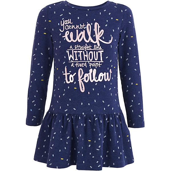 Платье Button Blue для девочкиПлатья и сарафаны<br>Характеристики товара:<br><br>• цвет: синий;<br>• состав: 90% хлопок, 5% вискоза, 5% эластан;<br>• сезон: демисезон;<br>• особенности: с рисунком, с надписью;<br>• платье с длинным рукавом;<br>• юбка в небольшую складку;<br>• платье без застежки;<br>• страна бренда: Россия;<br>• страна изготовитель: Бангладеш.<br><br>Платье с длинным рукавом для девочки. Серое платье декорировано мелким рисунком и надписью спереди. Платье свободного кроя с заниженной талией.  <br><br>Платье Button Blue (Баттон Блю) можно купить в нашем интернет-магазине.<br><br>Ширина мм: 236<br>Глубина мм: 16<br>Высота мм: 184<br>Вес г: 177<br>Цвет: темно-синий<br>Возраст от месяцев: 24<br>Возраст до месяцев: 36<br>Пол: Женский<br>Возраст: Детский<br>Размер: 98,158,152,146,140,134,128,122,116,110,104<br>SKU: 7037623