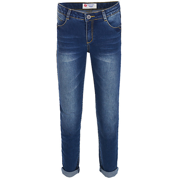 Джинсы Button Blue для девочкиДжинсы<br>Характеристики товара:<br><br>• цвет: синий;<br>• состав: 75% хлопок 23% полиэстер 2% эластан;<br>• сезон: демисезон;<br>• особенности: с отворотами, с потертостями;<br>• застежка: ширинка на молнии и пуговица;<br>• внутренняя регулировка талии;<br>• два накладных кармана сзади;<br>• два кармана спереди + мини-карман;<br>• страна бренда: Россия;<br>• страна изготовитель: Китай.<br><br>Джинсы с потертостями для девочки. Джинсы с отворотами застегиваются на ширинку на молнии и пуговицу, талия внутри регулируется при помощи резинки с пуговицей. Джинсы с карманами.<br><br>Джинсы Button Blue (Баттон Блю) можно купить в нашем интернет-магазине.<br>Ширина мм: 215; Глубина мм: 88; Высота мм: 191; Вес г: 336; Цвет: темно-синий; Возраст от месяцев: 96; Возраст до месяцев: 108; Пол: Женский; Возраст: Детский; Размер: 134,128,122,116,110,104,98,146,158,152,140; SKU: 7037841;