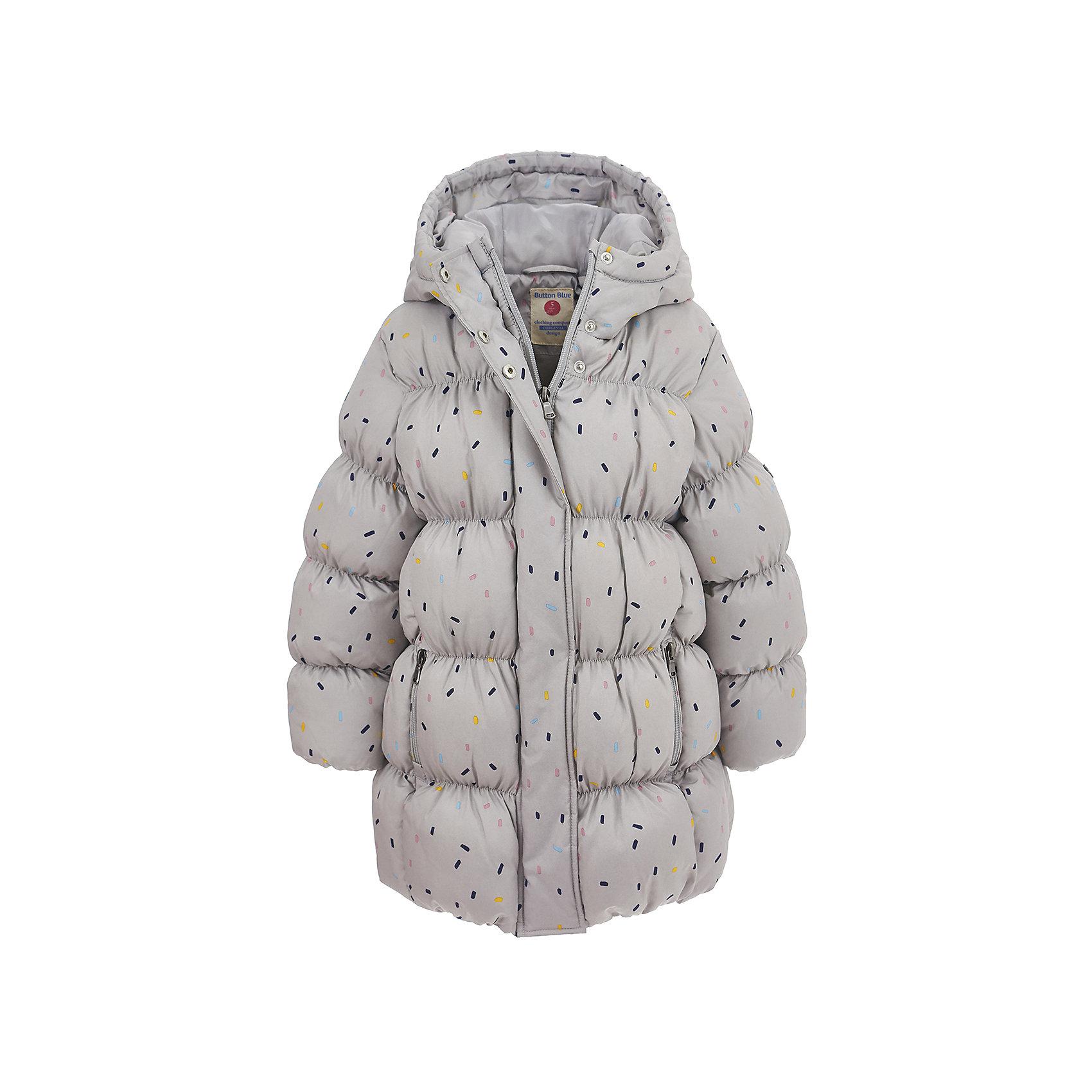 Куртка Button Blue для девочкиВерхняя одежда<br>Характеристики товара:<br><br>• цвет: серый;<br>• состав: 100% полиэстер;<br>• подкладка: 100% хлопок, 100% полиэстер;<br>• утеплитель: 100% полиэстер;<br>• сезон: демисезон;<br>• температурный режим: от +7 до -10С;<br>• застежка: молния по всей длине;<br>• защита подбородка от защемления;<br>• капюшон не отстегивается;<br>• эластичные манжеты рукавов;<br>• два кармана на молнии;<br>• дополнительная планка на кнопках;<br>• страна бренда: Россия;<br>• страна изготовитель: Китай.<br><br>Демисезонная куртка с капюшоном для девочки. Куртка застегивается на молнию с защитой подбородка от защемления. Сверху молнии дополнительная защитная планка на кнопках. Эластичные манжеты, два кармана на молнии. Куртка в мелкий рисунок.<br><br>Куртку Button Blue (Баттон Блю) можно купить в нашем интернет-магазине.<br><br>Ширина мм: 356<br>Глубина мм: 10<br>Высота мм: 245<br>Вес г: 519<br>Цвет: серый<br>Возраст от месяцев: 132<br>Возраст до месяцев: 144<br>Пол: Женский<br>Возраст: Детский<br>Размер: 152,158,98,104,110,116,122,128,134,140,146<br>SKU: 7037885