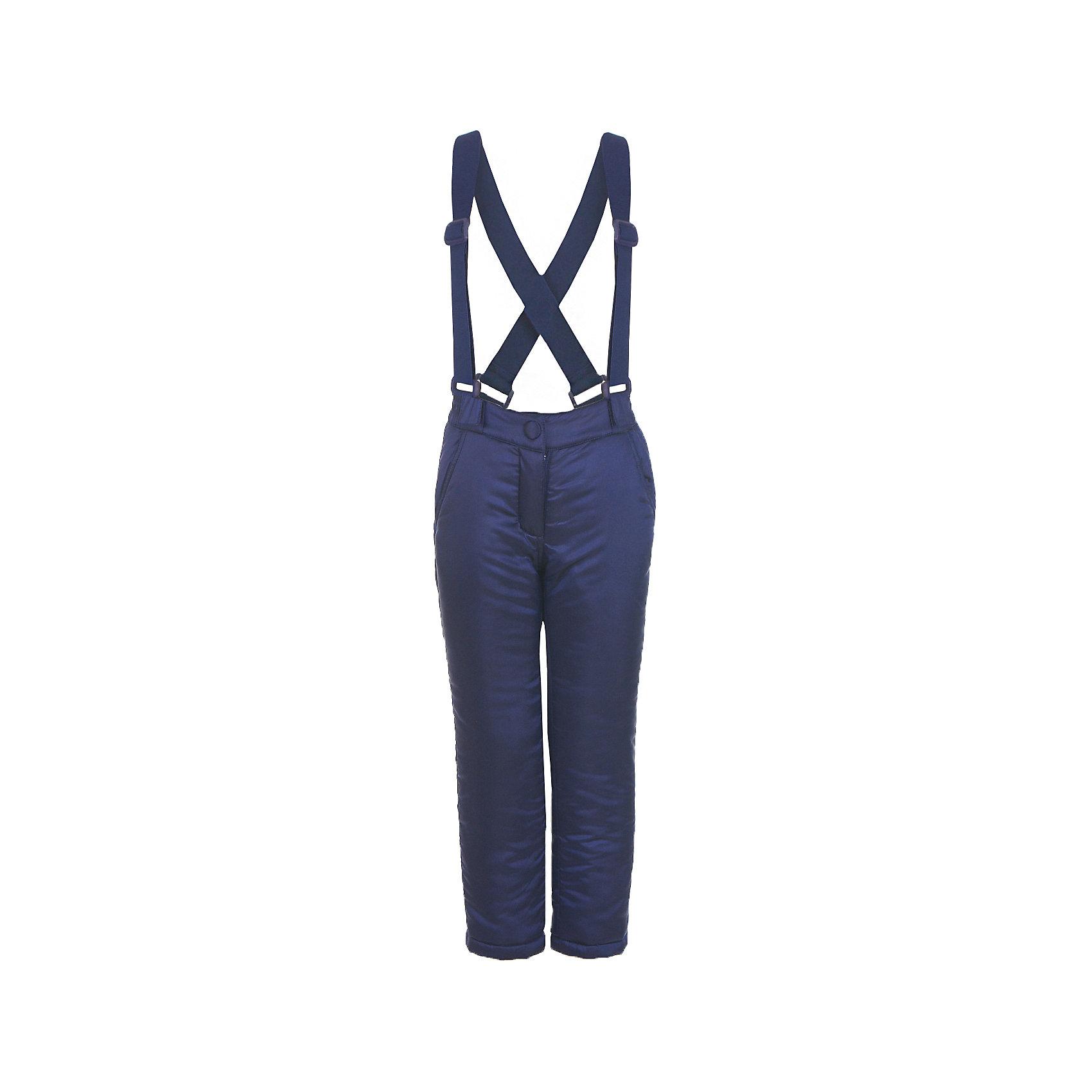 Брюки Button Blue для девочкиВерхняя одежда<br>Характеристики товара:<br><br>• цвет: синий;<br>• состав: 55% полиэстер, 45% нейлон;<br>• подкладка: 100% хлопок, 100% полиэстер, флис;<br>• утеплитель: 100% полиэстер, синтепон;<br>• сезон: зима;<br>• температурный режим: от 0 до -20С;<br>• застежка: ширинка на молнии, пуговица;<br>• гладкая подкладка из полиэстера;<br>• съемные, эластичные и регулируемые подтяжки;<br>• непромокаемые;<br>• два боковых кармана;<br>• страна бренда: Россия;<br>• страна изготовитель: Китай.<br><br>Зимние брюки с подтяжками для девочки. Брюки застегиваются на ширинку на молнии и пуговицу-крючок. Сверху брюки выполнены из водонепроницаемой ткани, при этом изделие дышит. Брюки дополнены съемными, эластичными и регулируемыми подтяжками.<br><br>Брюки Button Blue (Баттон Блю) можно купить в нашем интернет-магазине.<br><br>Ширина мм: 215<br>Глубина мм: 88<br>Высота мм: 191<br>Вес г: 336<br>Цвет: темно-синий<br>Возраст от месяцев: 24<br>Возраст до месяцев: 36<br>Пол: Женский<br>Возраст: Детский<br>Размер: 98,104,110,116,122,128,134,140,146,152,158<br>SKU: 7038025