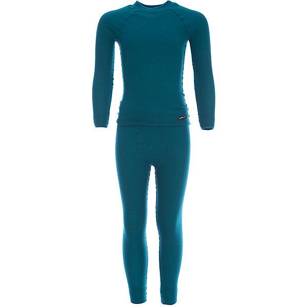 Комплект термобелья LynxyКомплекты<br>Характеристики товара:<br><br>• цвет: морской волны<br>• комплектация: лонгслив и рейтузы<br>• состав ткани: 95% полиэстер, 5% вискоза <br>• подкладка: нет<br>• сезон: зима<br>• температурный режим: от -30 до 0<br>• пояс: резинка<br>• длинные рукава<br>• страна бренда: Россия<br>• страна изготовитель: Россия<br><br>Такой детский комплект термобелья состоит из лонгслива и рейтуз. Такое термобелье можно надевать как нижний слой в морозы. Качественный материал комплекта термобелья для детей позволяет коже дышать и впитывает лишнюю влагу. Ткань Trevira с микроначесом приятна на ощупь. <br><br>Комплект термобелья Lynxy (Линкси) можно купить в нашем интернет-магазине.<br><br>Ширина мм: 123<br>Глубина мм: 10<br>Высота мм: 149<br>Вес г: 209<br>Цвет: зеленый<br>Возраст от месяцев: 24<br>Возраст до месяцев: 36<br>Пол: Унисекс<br>Возраст: Детский<br>Размер: 98,170,104,110,116,122,128,134,140,146,152,158,164<br>SKU: 7038614
