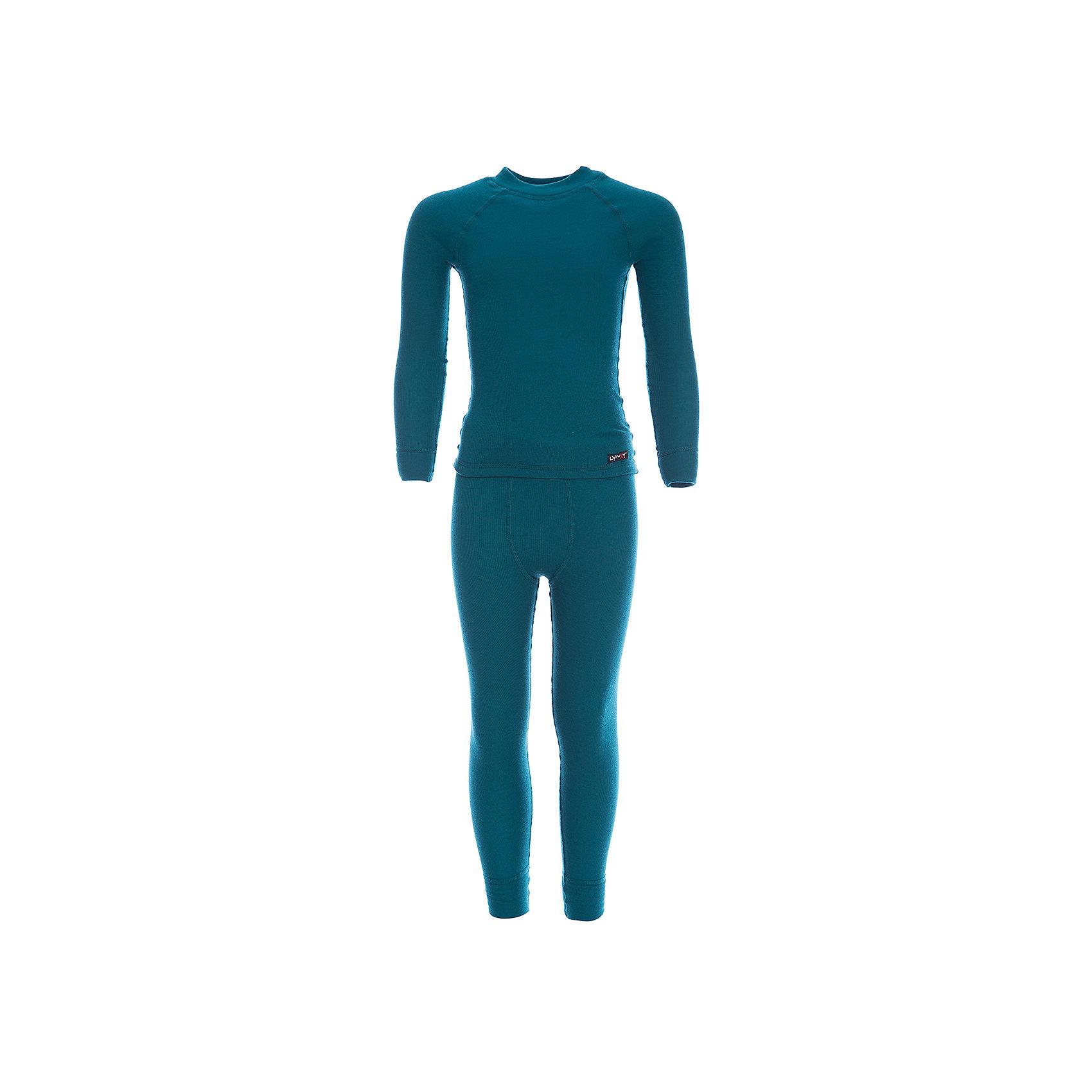Комплект термобелья LynxyФлис и термобелье<br>Характеристики товара:<br><br>• цвет: морской волны<br>• комплектация: лонгслив и рейтузы<br>• состав ткани: 95% полиэстер, 5% вискоза <br>• подкладка: нет<br>• сезон: зима<br>• температурный режим: от -30 до 0<br>• пояс: резинка<br>• длинные рукава<br>• страна бренда: Россия<br>• страна изготовитель: Россия<br><br>Такой детский комплект термобелья состоит из лонгслива и рейтуз. Такое термобелье можно надевать как нижний слой в морозы. Качественный материал комплекта термобелья для детей позволяет коже дышать и впитывает лишнюю влагу. Ткань Trevira с микроначесом приятна на ощупь. <br><br>Комплект термобелья Lynxy (Линкси) можно купить в нашем интернет-магазине.<br><br>Ширина мм: 123<br>Глубина мм: 10<br>Высота мм: 149<br>Вес г: 209<br>Цвет: зеленый<br>Возраст от месяцев: 36<br>Возраст до месяцев: 48<br>Пол: Унисекс<br>Возраст: Детский<br>Размер: 104,170,98,110,116,122,128,134,140,146,152,158,164<br>SKU: 7038614