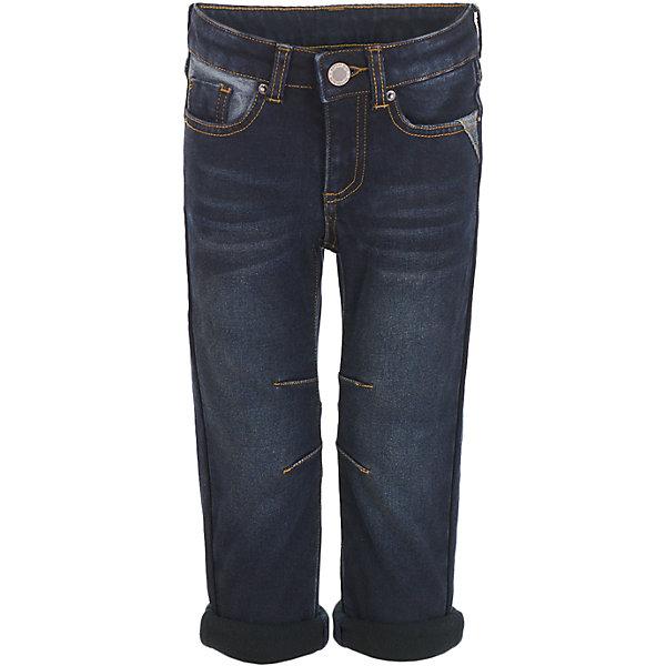 Джинсы Button Blue для мальчикаДжинсы<br>Характеристики товара:<br><br>• цвет: темно-синий;<br>• состав: 54% хлопок 44,5% полиэстер 1,5% эластан;<br>• сезон: демисезон;<br>• особенности: однотонные, на флисовой подкладке;<br>• застежка: ширинка на молнии и пуговица;<br>• внутренняя регулировка обхвата талии;<br>• штанины с отворотами;<br>• накладные карманы сзади;<br>• два кармана спереди + мини-карман;<br>• страна бренда: Россия;<br>• страна изготовитель: Китай.<br><br>Джинсы на флисе для мальчика. Темно-синие джинсы с отворотами застегиваются на ширинку на молнии и пуговицу. <br><br>Джинсы Button Blue (Баттон Блю) можно купить в нашем интернет-магазине.<br><br>Ширина мм: 215<br>Глубина мм: 88<br>Высота мм: 191<br>Вес г: 336<br>Цвет: черный<br>Возраст от месяцев: 36<br>Возраст до месяцев: 48<br>Пол: Мужской<br>Возраст: Детский<br>Размер: 104,98,158,152,146,140,134,128,122,116,110<br>SKU: 7038821