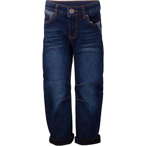 Джинсы Button Blue для мальчикаДжинсы<br>Характеристики товара:<br><br>• цвет: синий;<br>• состав: 54% хлопок 44,5% полиэстер 1,5% эластан;<br>• сезон: демисезон;<br>• особенности: однотонные, на флисовой подкладке;<br>• застежка: ширинка на молнии и пуговица;<br>• внутренняя регулировка обхвата талии;<br>• штанины с отворотами;<br>• накладные карманы сзади;<br>• два кармана спереди + мини-карман;<br>• страна бренда: Россия;<br>• страна изготовитель: Китай.<br><br>Джинсы на флисе для мальчика. Синие джинсы с отворотами застегиваются на ширинку на молнии и пуговицу. <br><br>Джинсы Button Blue (Баттон Блю) можно купить в нашем интернет-магазине.<br><br>Ширина мм: 215<br>Глубина мм: 88<br>Высота мм: 191<br>Вес г: 336<br>Цвет: темно-синий<br>Возраст от месяцев: 24<br>Возраст до месяцев: 36<br>Пол: Мужской<br>Возраст: Детский<br>Размер: 98,158,152,146,140,134,128,122,116,104,110<br>SKU: 7038833
