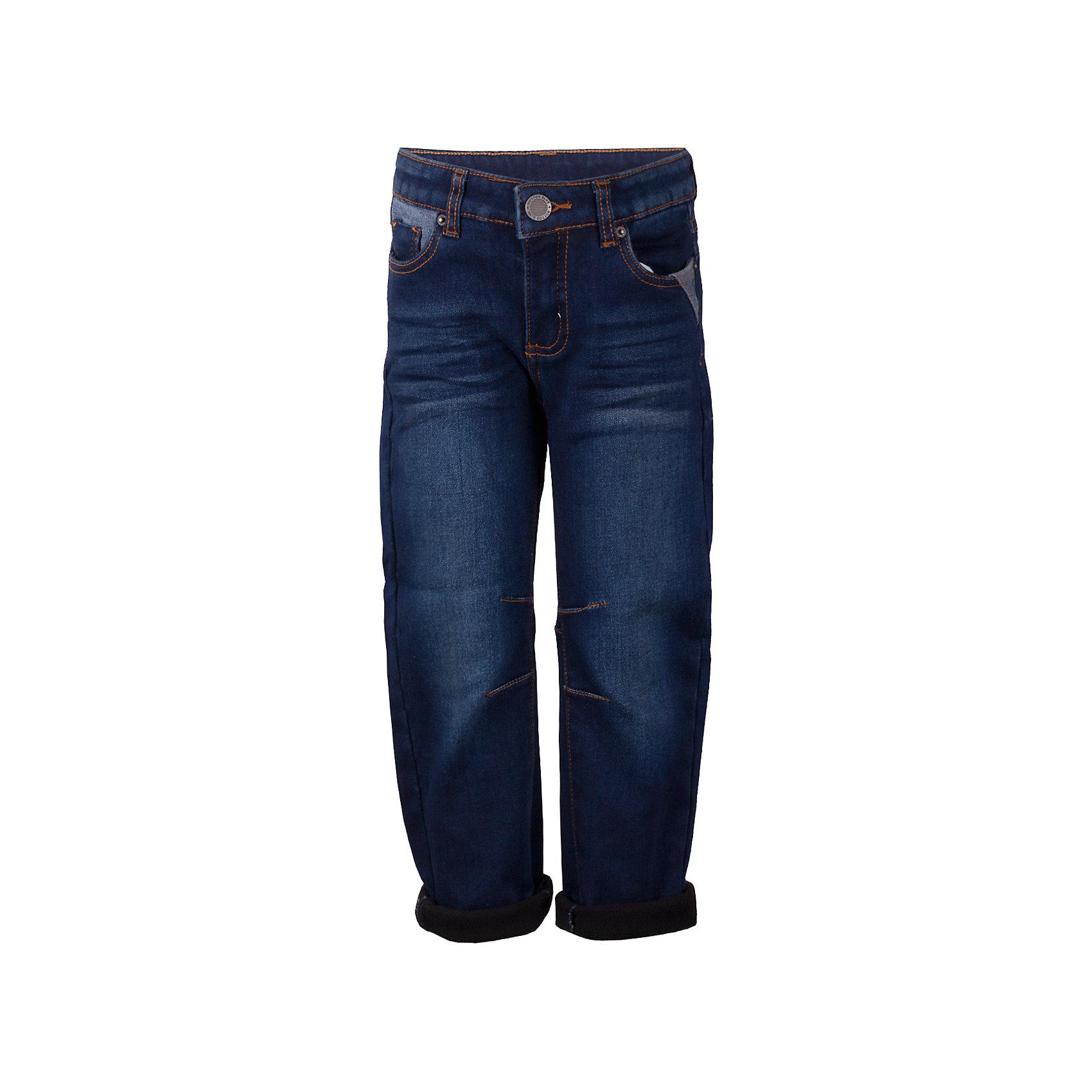 Джинсы Button Blue для мальчикаДжинсы<br>Характеристики товара:<br><br>• цвет: синий;<br>• состав: 54% хлопок 44,5% полиэстер 1,5% эластан;<br>• сезон: демисезон;<br>• особенности: однотонные, на флисовой подкладке;<br>• застежка: ширинка на молнии и пуговица;<br>• внутренняя регулировка обхвата талии;<br>• штанины с отворотами;<br>• накладные карманы сзади;<br>• два кармана спереди + мини-карман;<br>• страна бренда: Россия;<br>• страна изготовитель: Китай.<br><br>Джинсы на флисе для мальчика. Синие джинсы с отворотами застегиваются на ширинку на молнии и пуговицу. <br><br>Джинсы Button Blue (Баттон Блю) можно купить в нашем интернет-магазине.<br><br>Ширина мм: 215<br>Глубина мм: 88<br>Высота мм: 191<br>Вес г: 336<br>Цвет: темно-синий<br>Возраст от месяцев: 144<br>Возраст до месяцев: 156<br>Пол: Мужской<br>Возраст: Детский<br>Размер: 158,98,104,110,116,122,128,134,140,146,152<br>SKU: 7038833