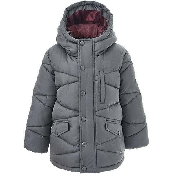 Куртка Button Blue для мальчикаВерхняя одежда<br>Характеристики товара:<br><br>• цвет: серый;<br>• состав: 100% полиэстер;<br>• подкладка: 100% полиэстер, 100% хлопок;<br>• утеплитель: 100% полиэстер;<br>• сезон: зима;<br>• температурный режим: от 0 до -20С;<br>• застежка: молния по всей длине с дополнительной планкой на кнопках;<br>• защита подбородка от защемления;<br>• капюшон не отстегивается;<br>• капюшон дополнен шнурком-утяжкой со стопером;<br>• эластичные трикотажные внутренние манжеты;<br>• внутренняя утяжка со стопером по низу изделия;<br>• два боковых кармана и карман на груди;<br>• страна бренда: Россия;<br>• страна изготовитель: Китай.<br><br>Зимняя куртка с капюшоном для мальчика. Куртка застегивается на молнию по всей длине. У куртки эластичные внутренние манжеты и регулируемый низ изделия. Капюшон имеет шнурок-утяжку со стопером.<br><br>Куртку Button Blue (Баттон Блю) можно купить в нашем интернет-магазине.<br>Ширина мм: 356; Глубина мм: 10; Высота мм: 245; Вес г: 519; Цвет: темно-серый; Возраст от месяцев: 60; Возраст до месяцев: 72; Пол: Мужской; Возраст: Детский; Размер: 116,140,146,152,158,122,128,110,98,134,104; SKU: 7038891;