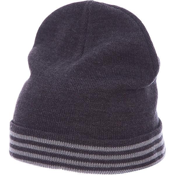 Шапка Button Blue для мальчикаГоловные уборы<br>Характеристики товара:<br><br>• цвет: темно-серый;<br>• состав: 100% акрил;<br>• без дополнительного утепления;<br>• сезон: демисезон, зима;<br>• температурный режим: от +5 до -10С;<br>• особенности: вязаная;<br>• шапка с отворотом;<br>• страна бренда: Россия;<br>• страна изготовитель: Китай.<br><br>Вязаная шапка с отворотом для мальчика. Демисезонная шапка для мальчика дополнена полосками контрастного цвета.<br><br>Шапку Button Blue (Баттон Блю) можно купить в нашем интернет-магазине.<br>Ширина мм: 89; Глубина мм: 117; Высота мм: 44; Вес г: 155; Цвет: темно-серый; Возраст от месяцев: 24; Возраст до месяцев: 36; Пол: Мужской; Возраст: Детский; Размер: 50,56,54,52; SKU: 7039050;