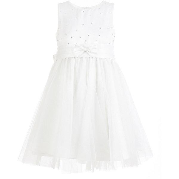 Платье нарядное Button Blue для девочкиОдежда<br>Характеристики товара:<br><br>• цвет: белый;<br>• состав: 100% полиэстер;<br>• подкладка: 100% хлопок;<br>• сезон: круглый год, лето;<br>• особенности: нарядная, со стразами;<br>• декорирована стразами и бантом спереди;<br>• платье на подкладке;<br>• платье завязывается сзади на пояс-бант;<br>• страна бренда: Россия;<br>• страна изготовитель: Китай.<br><br>Нарядное платье без рукавов для девочки. Белое платье на хлопковой подкладке, декорировано россыпью страз и маленьким бантиком спереди на поясе. Сзади пояс платья завязывается в большой шикарный бант.<br><br>Платье Button Blue (Баттон Блю) можно купить в нашем интернет-магазине.<br>Ширина мм: 236; Глубина мм: 16; Высота мм: 184; Вес г: 177; Цвет: белый; Возраст от месяцев: 24; Возраст до месяцев: 36; Пол: Женский; Возраст: Детский; Размер: 122,116,110,104,98,158,152,146,140,134,128; SKU: 7039157;