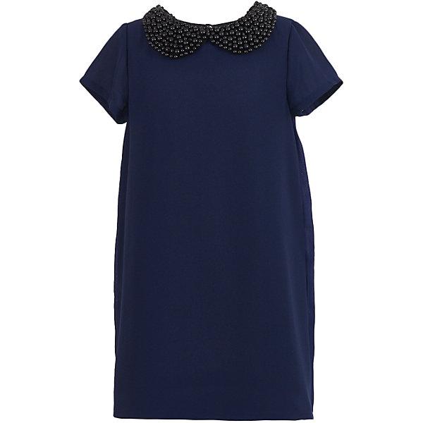 Платье нарядное Button Blue для девочкиОдежда<br>Характеристики товара:<br><br>• цвет: синий;<br>• состав: 100% полиэстер;<br>• подкладка: 100% хлопок;<br>• сезон: круглый год, лето;<br>• особенности: нарядное, плиссированное;<br>• застежка: пуговица сзади;<br>• с коротким рукавом;<br>• платье на подкладке;<br>• спинка платья плиссированная;<br>• декорирована съемным воротником с бусами;<br>• страна бренда: Россия;<br>• страна изготовитель: Китай.<br><br>Нарядное платье с коротким рукавом для девочки. Синее платье на хлопковой подкладке, декорировано съемный воротником отделанным бусинами. Спинка платья плиссированная. Прямое платье свободного кроя подходит для торжественного случая.<br><br>Платье Button Blue (Баттон Блю) можно купить в нашем интернет-магазине.<br><br>Ширина мм: 236<br>Глубина мм: 16<br>Высота мм: 184<br>Вес г: 177<br>Цвет: темно-синий<br>Возраст от месяцев: 24<br>Возраст до месяцев: 36<br>Пол: Женский<br>Возраст: Детский<br>Размер: 98,158,152,146,140,134,128,122,116,110,104<br>SKU: 7039181