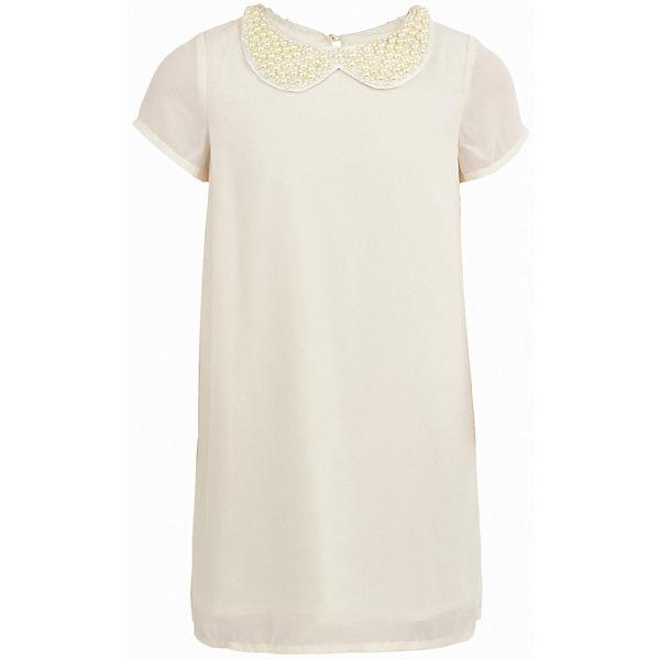 Платье нарядное Button Blue для девочкиОдежда<br>Характеристики товара:<br><br>• цвет: молочный;<br>• состав: 100% полиэстер;<br>• подкладка: 100% хлопок;<br>• сезон: круглый год, лето;<br>• особенности: нарядное, плиссированное;<br>• застежка: пуговица сзади;<br>• с коротким рукавом;<br>• платье на подкладке;<br>• спинка платья плиссированная;<br>• декорирована съемным воротником с бусами;<br>• страна бренда: Россия;<br>• страна изготовитель: Китай.<br><br>Нарядное платье с коротким рукавом для девочки. Синее платье на хлопковой подкладке, декорировано съемный воротником отделанным бусинами. Спинка платья плиссированная. Прямое платье свободного кроя подходит для торжественного случая.<br><br>Платье Button Blue (Баттон Блю) можно купить в нашем интернет-магазине.<br>Ширина мм: 236; Глубина мм: 16; Высота мм: 184; Вес г: 177; Цвет: белый; Возраст от месяцев: 120; Возраст до месяцев: 132; Пол: Женский; Возраст: Детский; Размер: 146,140,134,128,122,116,110,158,104,152,98; SKU: 7039193;