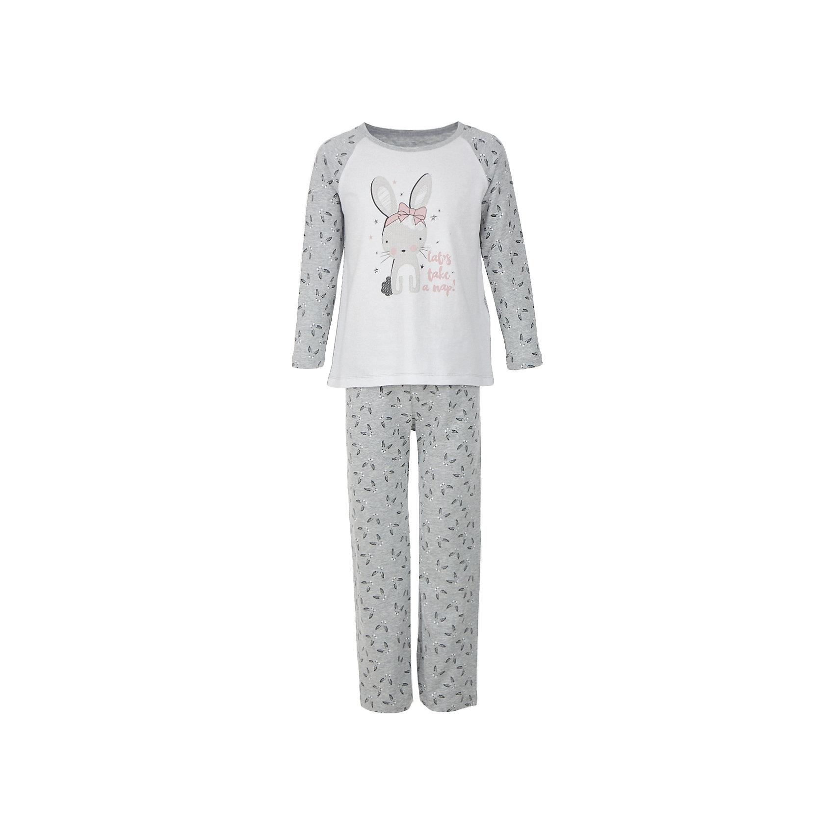 Пижама BUTTON BLUE для девочкиПижамы и сорочки<br>Пижама BUTTON BLUE для девочки<br>Уютная пижама с длинным рукавом - прекрасный комплект для комфортного сна. Если вы хотите сформировать бельевой гардероб ребенка из качественных, комфортных, приятных к телу вещей, вам стоит купить пижаму от Button Blue. Все трикотажные пижамы для девочек украшает крупный интересный  принт.<br>Состав:<br>95% хлопок           5% эластан<br><br>Ширина мм: 281<br>Глубина мм: 70<br>Высота мм: 188<br>Вес г: 295<br>Цвет: серый<br>Возраст от месяцев: 132<br>Возраст до месяцев: 144<br>Пол: Женский<br>Возраст: Детский<br>Размер: 152,98,104,116,128,140<br>SKU: 7039313