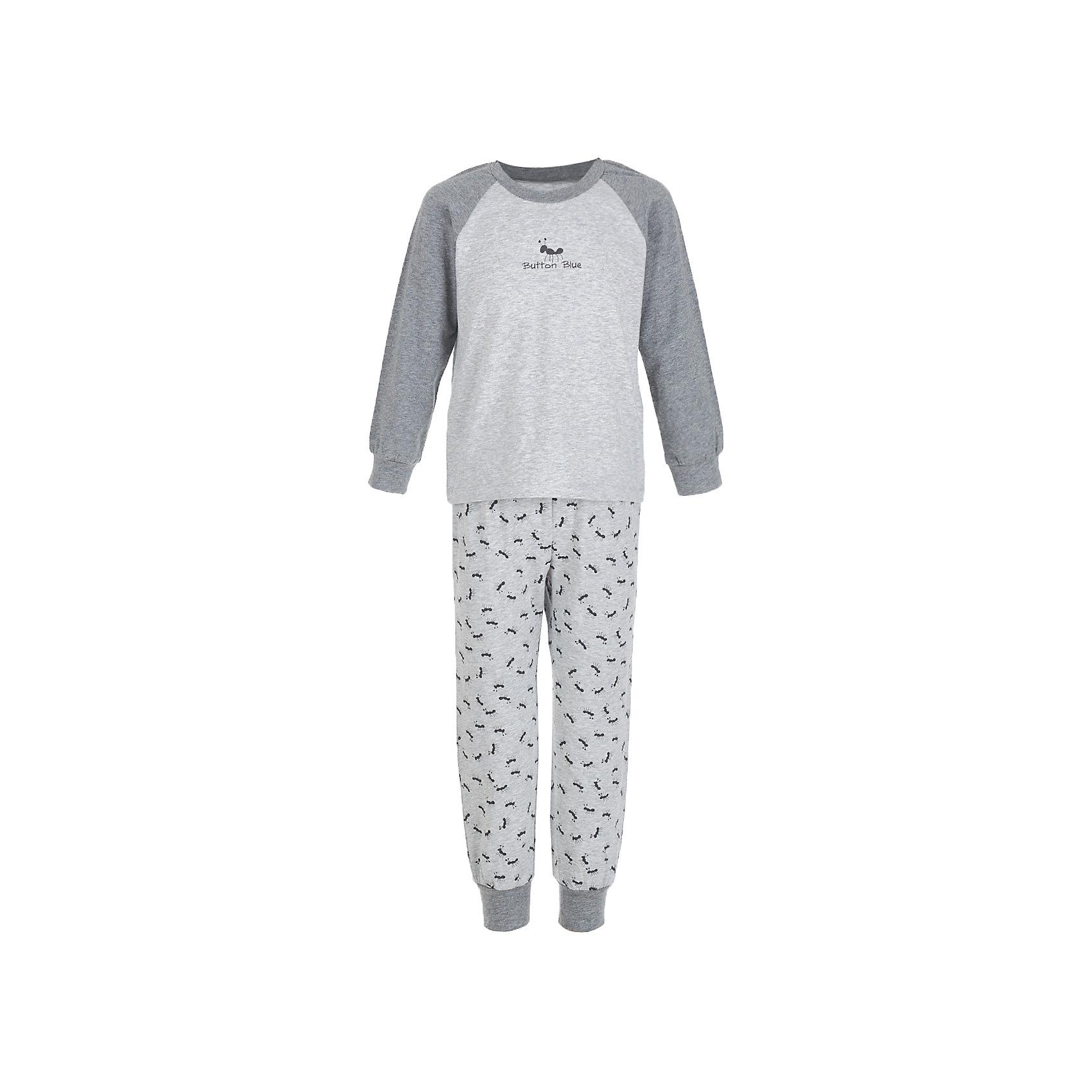 Пижама BUTTON BLUE для мальчикаПижамы и сорочки<br>Пижама BUTTON BLUE для мальчика<br>Уютная пижама с длинным рукавом - прекрасный комплект для комфортного сна. Если вы хотите сформировать бельевой гардероб ребенка из качественных, удобных, приятных к телу вещей, вам стоит купить пижаму от Button Blue. Все трикотажные пижамы для мальчиков украшает интересный принт.<br>Состав:<br>95% хлопок           5% эластан<br><br>Ширина мм: 281<br>Глубина мм: 70<br>Высота мм: 188<br>Вес г: 295<br>Цвет: серый<br>Возраст от месяцев: 132<br>Возраст до месяцев: 144<br>Пол: Мужской<br>Возраст: Детский<br>Размер: 152,98,104,116,128,140<br>SKU: 7039384