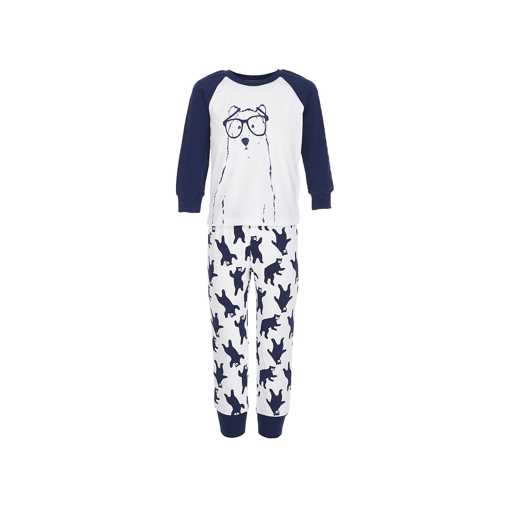 Пижама BUTTON BLUE для мальчикаПижамы и сорочки<br>Пижама BUTTON BLUE для мальчика<br>Уютная пижама с длинным рукавом - прекрасный комплект для комфортного сна. Если вы хотите сформировать бельевой гардероб ребенка из качественных, удобных, приятных к телу вещей, вам стоит купить пижаму от Button Blue. Все трикотажные пижамы для мальчиков украшает интересный принт.<br>Состав:<br>95% хлопок           5% эластан<br><br>Ширина мм: 281<br>Глубина мм: 70<br>Высота мм: 188<br>Вес г: 295<br>Цвет: белый<br>Возраст от месяцев: 60<br>Возраст до месяцев: 72<br>Пол: Мужской<br>Возраст: Детский<br>Размер: 116,152,98,104,128,140<br>SKU: 7039391