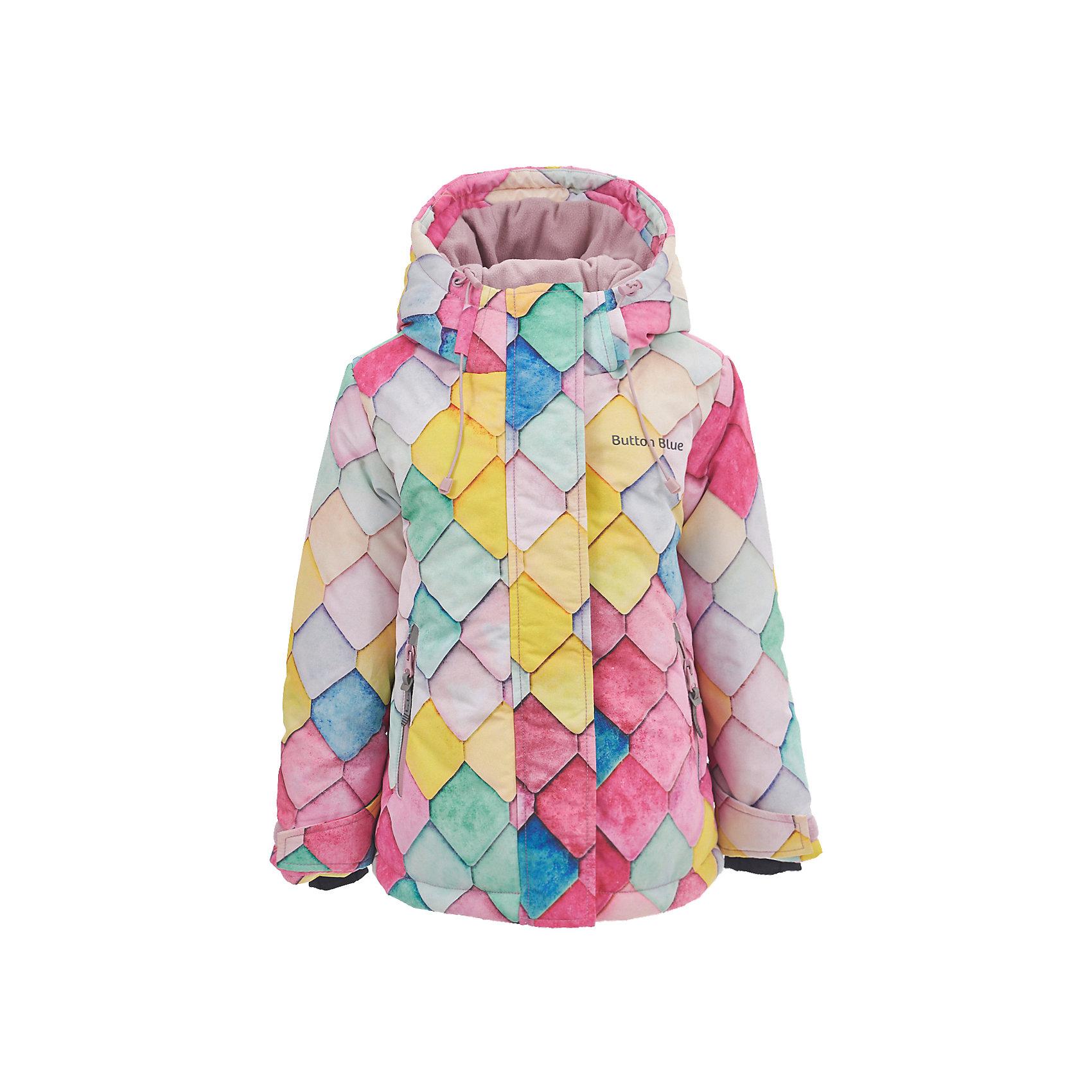 Куртка Button Blue для девочкиВерхняя одежда<br>Характеристики товара:<br><br>• цвет: мульти;<br>• состав: 100% полиэстер;<br>• подкладка: 100% полиэстер, флис;<br>• утеплитель: 100% полиэстер;<br>• сезон: зима;<br>• температурный режим: от 0 до -20С;<br>• застежка: молния с защитой подбородка;<br>• дополнительная защитная планка на липучках;<br>• сплошная подкладка из флиса;<br>• эластичные регулируемые манжеты на липучке;<br>• внутренний манжет с отверстием для большого пальца;<br>• водоотталкивающая ткань;<br>• внутренняя утяжка по низу изделия;<br>• карманы на молнии;<br>• страна бренда: Россия;<br>• страна изготовитель: Китай.<br><br>Яркая куртка из мембранной плащевки понравится всем любителям активных прогулок! Куртка сделана с соблюдением основных технологических особенностей производства спортивной одежды. Она не промокает, сохраняет тепло, трикотажная подкладка из мягкого флиса создает комфорт при длительной носке, утяжки защищают от продувания, светоотражающие элементы обеспечивают безопасность ребенка. Водоотталкивающая ткань с оригинальным рисунком делает куртку запоминающейся.<br><br>Куртку Button Blue (Баттон Блю) можно купить в нашем интернет-магазине.<br><br>Ширина мм: 356<br>Глубина мм: 10<br>Высота мм: 245<br>Вес г: 519<br>Цвет: белый<br>Возраст от месяцев: 24<br>Возраст до месяцев: 36<br>Пол: Женский<br>Возраст: Детский<br>Размер: 98,158,152,146,140,134,128,122,116,110,104<br>SKU: 7039514