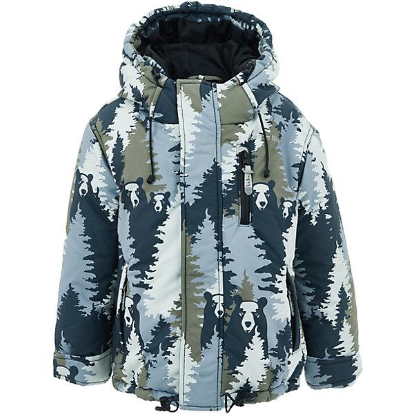 Куртка Button Blue для мальчикаВерхняя одежда<br>Характеристики товара:<br><br>• цвет: серый принт;<br>• состав: 100% полиэстер;<br>• подкладка: 100% полиэстер, флис;<br>• утеплитель: 100% полиэстер;<br>• сезон: зима;<br>• температурный режим: от 0 до -20С;<br>• застежка: молния с защитой подбородка;<br>• дополнительная защитная планка на липучках;<br>• сплошная подкладка из флиса;<br>• эластичные регулируемые манжеты на липучке;<br>• внутренний манжет с отверстием для большого пальца;<br>• водоотталкивающая ткань;<br>• внутренняя утяжка по низу изделия;<br>• карманы на молнии;<br>• страна бренда: Россия;<br>• страна изготовитель: Китай.<br><br>Яркая куртка из мембранной плащевки понравится всем любителям активных прогулок! Куртка сделана с соблюдением основных технологических особенностей производства спортивной одежды. Она не промокает, сохраняет тепло, трикотажная подкладка из мягкого флиса создает комфорт при длительной носке, утяжки защищают от продувания, светоотражающие элементы обеспечивают безопасность ребенка. Водоотталкивающая ткань с оригинальным рисунком делает куртку запоминающейся.<br><br>Куртку Button Blue (Баттон Блю) можно купить в нашем интернет-магазине.<br><br>Ширина мм: 356<br>Глубина мм: 10<br>Высота мм: 245<br>Вес г: 519<br>Цвет: серый<br>Возраст от месяцев: 24<br>Возраст до месяцев: 36<br>Пол: Мужской<br>Возраст: Детский<br>Размер: 98,158,152,146,140,134,128,122,116,110,104<br>SKU: 7039602