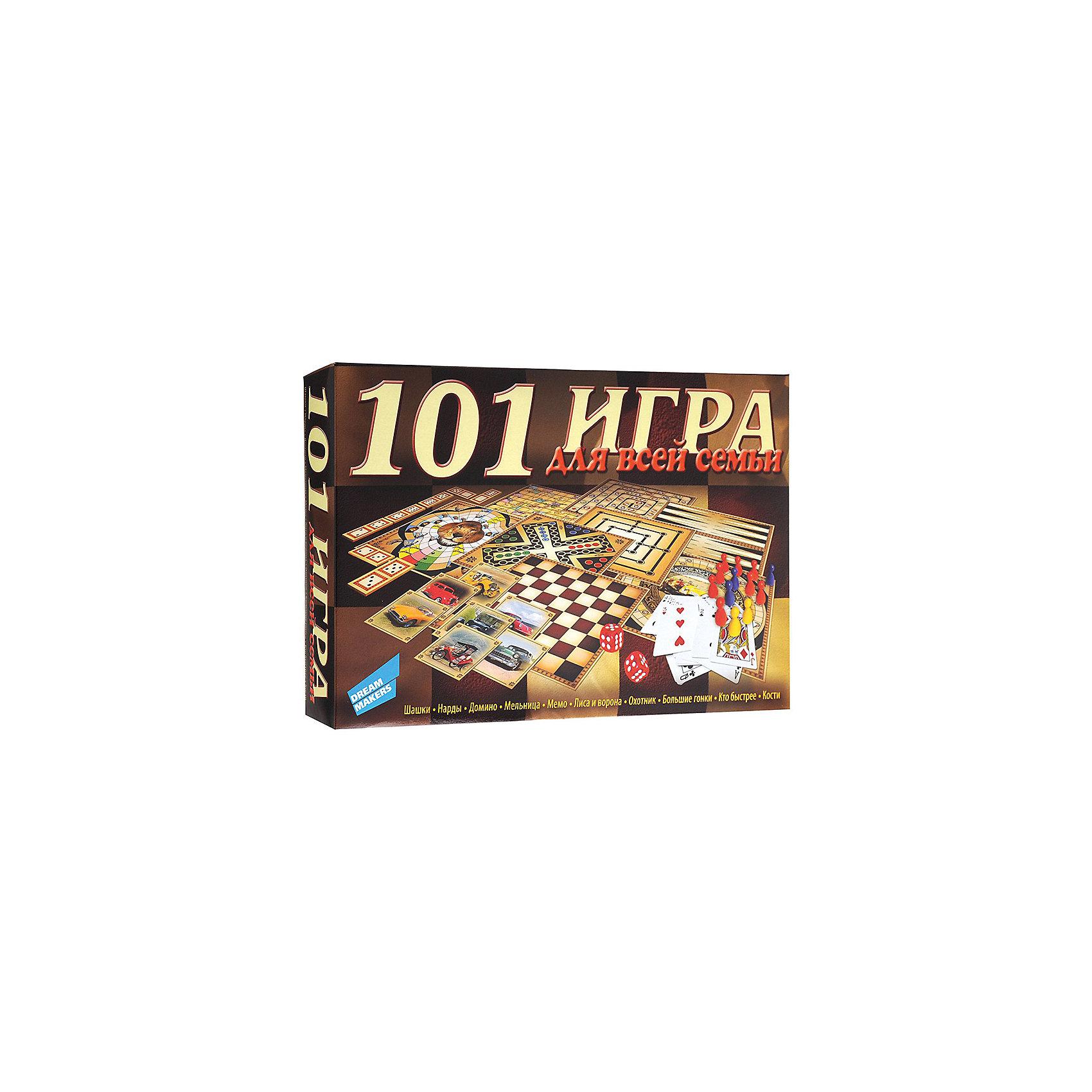 Настольная игра 101 игра New Dream makersНастольные игры для всей семьи<br>Настольная игра содержит материал для 101 игр. Из представленных игр можно отметить такие популярные игры, как шашки, нарды, домино, мемо, а также множество карточных игр, фокусов и игр в кости. Игра для детей от 5 лет, рассчитанная на 2- 6 игроков, развивает эрудицию. Время игры 30 минут. Копмлектность: игровые поля 8 шт., карточки «Домино» 28 шт., карточки «Мемо» 24 шт., шашки 24 шт., фишки игральные 16 шт., кубик игральный 5 шт., карты игральные, инструкция.<br><br>Ширина мм: 325<br>Глубина мм: 200<br>Высота мм: 55<br>Вес г: 300<br>Возраст от месяцев: 60<br>Возраст до месяцев: 2147483647<br>Пол: Унисекс<br>Возраст: Детский<br>SKU: 7040253