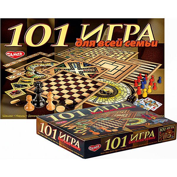 Настольная игра 101 игра для всей семьи Dream makersНастольные игры для всей семьи<br>Характеристики товара:<br><br>• возраст: от 5 лет;<br>• в комплекте: 4 двухсторонних игровых полей, карточки Домино - 28 шт., карточки Мемо - 24 шт., шашки и шахматы - 32 шт., фишки игральные - 16 шт., колода карт (36 карт), 5 игральных кубиков, правила игр;<br>• количество игроков: 2-6;<br>• состав игрушки: картон, бумага, пластик;<br>• вес: 845 гр.;<br>• размер упаковки: 36х23х5,5 см;<br>• упаковка: картонная коробка.<br><br>Настольная игра содержит материал для 101 игр. Из представленных игр можно отметить такие популярные игры, как шашки, нарды, домино, мемо, а также множество карточных игр, фокусов и игр в кости. <br><br>Игра для детей от 5 лет, рассчитанная на 2- 6 игроков, развивает эрудицию. Время игры 30 минут. <br><br>Детскую настольную игру «101 игра для всей семьи» можно купить в нашем интернет-магазине.<br>Ширина мм: 360; Глубина мм: 230; Высота мм: 55; Вес г: 845; Возраст от месяцев: 60; Возраст до месяцев: 2147483647; Пол: Унисекс; Возраст: Детский; SKU: 7040254;