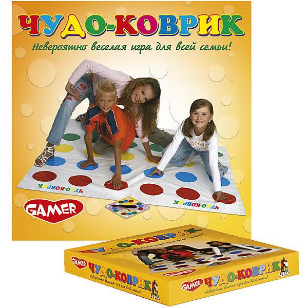 Игра Чудо-коврик Dream makersТоп игр<br>Характеристики товара:<br><br>• возраст: от 5 лет;<br>• цвет: белый, красный, синий, желтый, зеленый;<br>• в комплекте: коврик, игровое поле;<br>• количество игроков: 2-6;<br>• состав игрушки: синтетический материал;<br>• вес: 376 гр.;<br>• размер упаковки: 28х28х5 см;<br>• упаковка: картонная коробка.<br><br>Веселая игра «Чудо-коврик» представляет собой аналог Твистера с теми же правилами игры. Участники, от 2 до 6 человек, размещаются на игровом поле, следуя указаниям ведущего. Он говорит на какой круг ставить руку или ногу и следит за соблюдением правил игры. Главная задача - сохранить баланс и не коснуться телом коврика. Игра отлично развивает координацию движений и чувство равновесия.<br><br>Детскую комнатную игру «Чудо-коврик» можно купить в нашем интернет-магазине.<br>Ширина мм: 280; Глубина мм: 280; Высота мм: 50; Вес г: 376; Возраст от месяцев: 60; Возраст до месяцев: 2147483647; Пол: Унисекс; Возраст: Детский; SKU: 7040257;