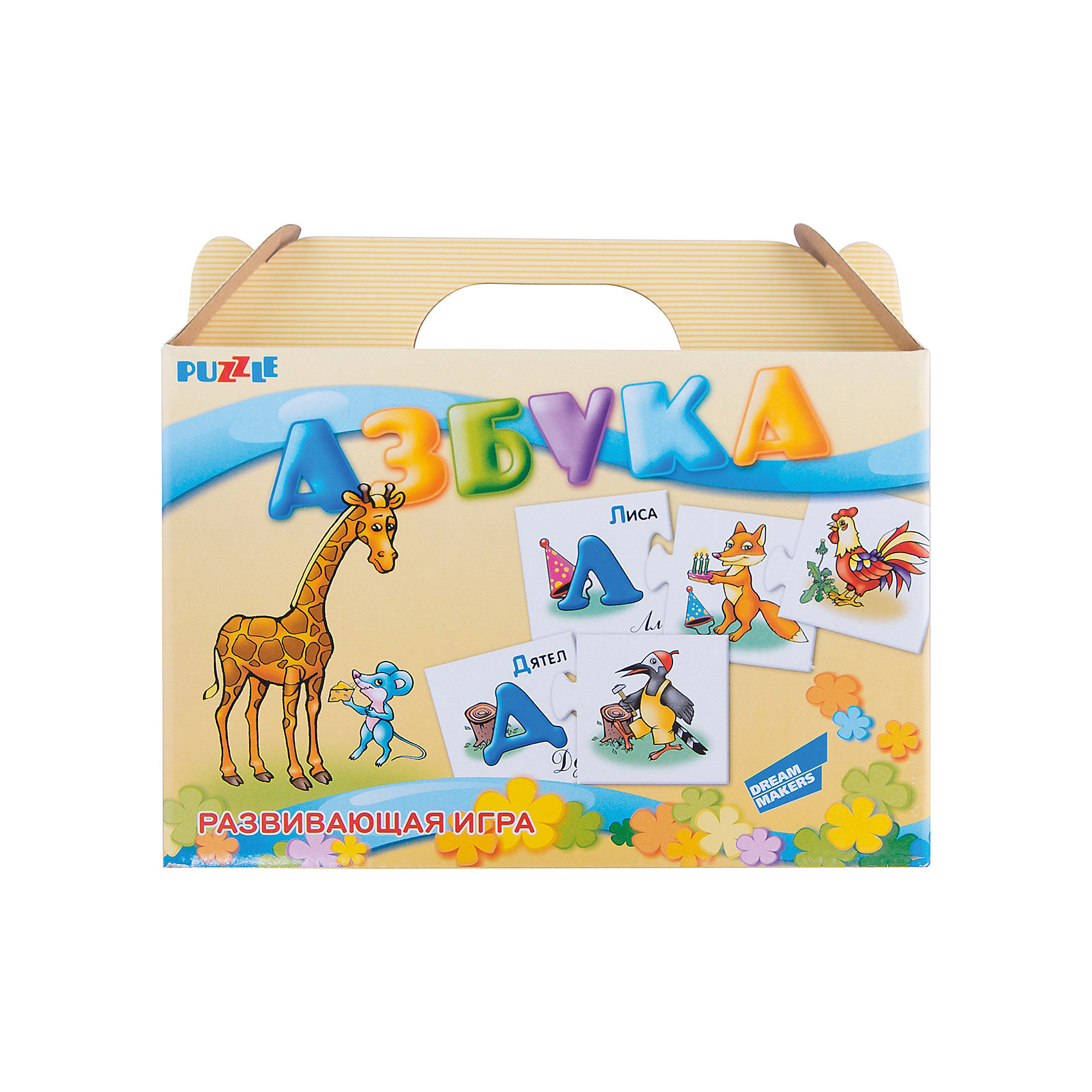 Настольная игра Азбука Dream makersОбучающие карточки<br>Развивающий пазл для детей. Комплектность: карточки Азбука - 66 шт.<br><br>Ширина мм: 215<br>Глубина мм: 185<br>Высота мм: 50<br>Вес г: 100<br>Возраст от месяцев: 36<br>Возраст до месяцев: 2147483647<br>Пол: Унисекс<br>Возраст: Детский<br>SKU: 7040270