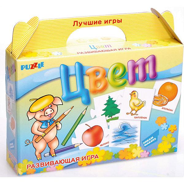 Развивающая игра-пазл Цвет Dream makers (30 деталей)Изучаем цвета и формы<br>Характеристики товара:<br><br>• возраст: от 3 лет;<br>• количество деталей: 10 пар карточек;<br>• из чего сделана игрушка (состав): картон;<br>• вес: 100 гр.;<br>• размер упаковки: 21,5х18,5х5 см;<br>• страна: Беларусь .<br><br>Отложите в сторону скучные занятия! Меняйте простое заучивание на познавательные игры. Используйте парные картинки — ищите с ребёнком ассоциативные связи и логические цепочки между изображениями. Помогите малышу научиться распознавать десять основных цветов вместе с настольной развивающей игрой «Цвет».<br><br>Начните занятия с нескольких карточек и постепенно увеличивайте их количество. Продемонстрируйте ребёнку соединённые пары, назовите цвет карандашей и покажите ассоциативную картинку. Разомкните половинки карточек, перемешайте их и задавайте малышу наводящие вопросы. Например: «Смотри, цыплёнок. Найди карандаши жёлтого цвета».<br><br>Детскую настольную игру  пазл развивающий «Цвет» можно купить в нашем интернет-магазине.<br><br>Ширина мм: 215<br>Глубина мм: 185<br>Высота мм: 50<br>Вес г: 100<br>Возраст от месяцев: 36<br>Возраст до месяцев: 2147483647<br>Пол: Унисекс<br>Возраст: Детский<br>SKU: 7040273