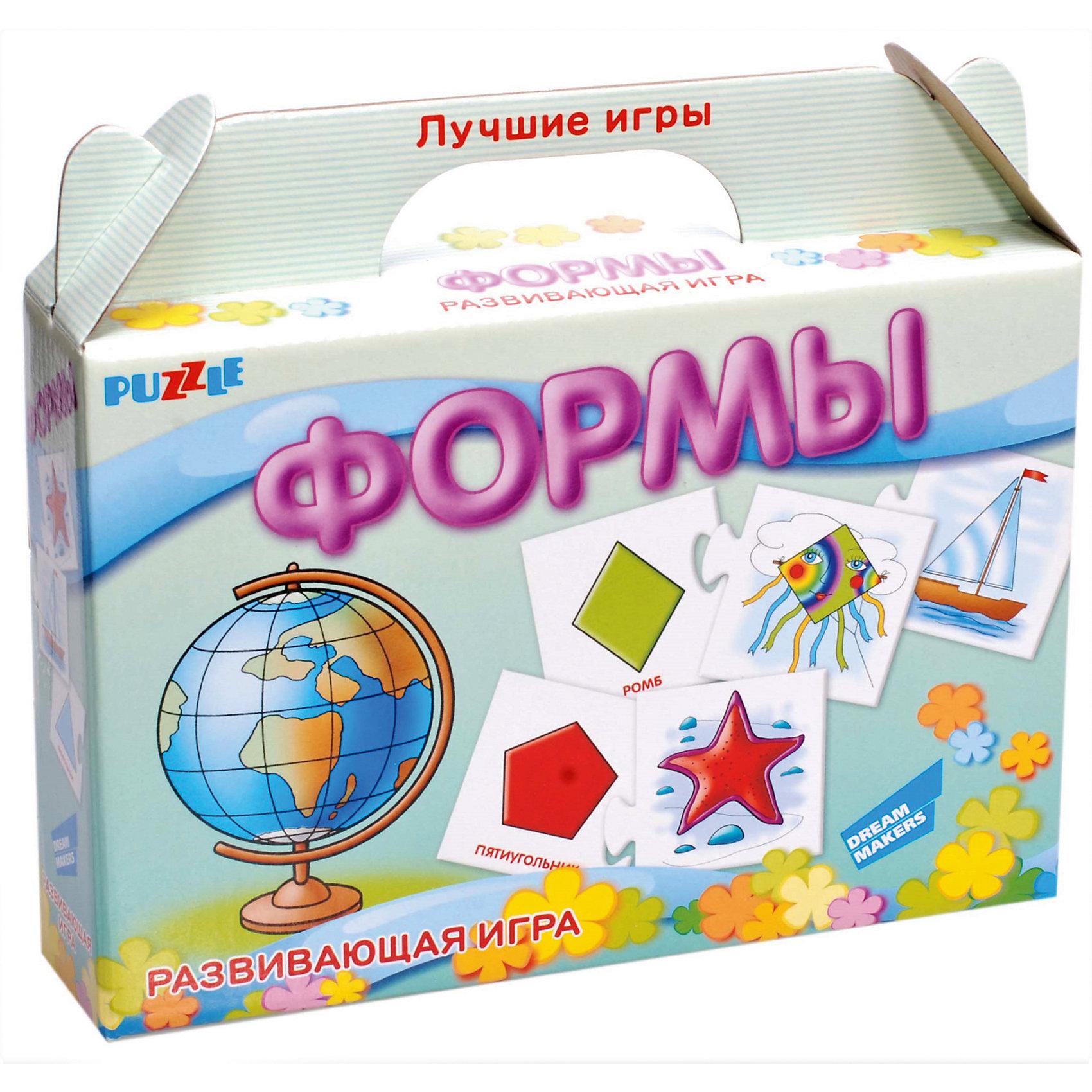 Развивающая игра-пазл Формы Dream makers (20 деталей)Изучаем цвета и формы<br>Характеристики товара:<br><br>• возраст: от 3 лет;<br>• количество деталей: 10 пар карточек;<br>• из чего сделана игрушка (состав): картон;<br>• вес: 100 гр.;<br>• размер упаковки: 21,5х18,5х5 см;<br>• страна: Беларусь .<br><br>Отложите в сторону скучные занятия! Меняйте простое заучивание на познавательные игры. Используйте парные картинки — ищите с ребёнком ассоциативные связи и логические цепочки между изображениями. Помогите малышу выучить цвета и геометрические фигуры вместе с настольной развивающей игрой «Формы».<br><br>Начните занятия с нескольких карточек и постепенно увеличивайте их количество. Продемонстрируйте ребёнку соединённые пары, назовите фигуру, её цвет, покажите ассоциативную картинку. Разомкните половинки карточек, перемешайте их и задавайте малышу наводящие вопросы. Например: «Смотри, нарисована морская звезда. Найди красный пятиугольник».<br><br>Детскую настольную игру  пазл развивающий «Формы» можно купить в нашем интернет-магазине.<br><br>Ширина мм: 215<br>Глубина мм: 185<br>Высота мм: 50<br>Вес г: 100<br>Возраст от месяцев: 36<br>Возраст до месяцев: 2147483647<br>Пол: Унисекс<br>Возраст: Детский<br>SKU: 7040274