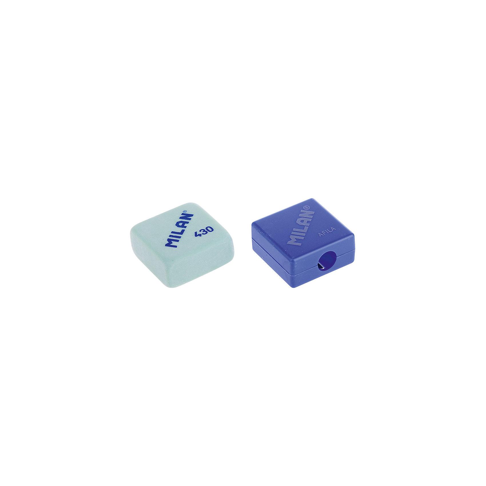 Набор точилка Afila + ластик Milan, цвет в ассортиментеКанцтовары для первоклассников<br>Кол-во отверстий для заточки: 1 <br>Размер: 27*27*13<br>Материал корпуса: пластик<br>Контейнер для стружки: есть<br>Цвет корпуса: ассорти<br>Упаковка ед. товара: блистер<br>Наличие штрихкода на ед. товара: есть<br>Ластик 430 в комплекте с точилкой AFILA в блистерной упаковке<br><br>Ширина мм: 140<br>Глубина мм: 83<br>Высота мм: 20<br>Вес г: 34<br>Возраст от месяцев: 36<br>Возраст до месяцев: 2147483647<br>Пол: Унисекс<br>Возраст: Детский<br>SKU: 7044155