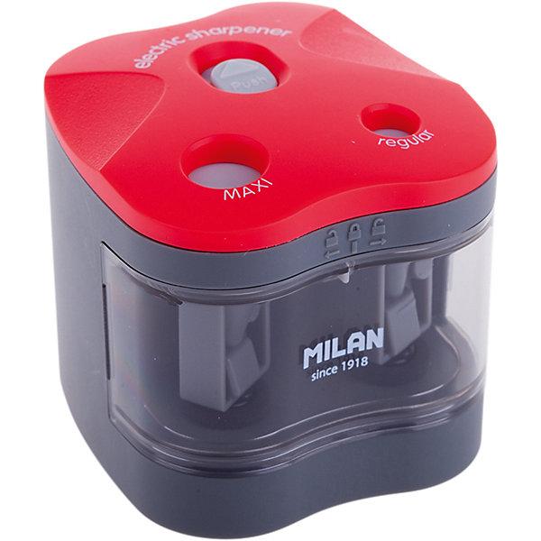 Точилка электрическая Maxi - Regular Milan, 2 отверстияПисьменные принадлежности<br>Характеристики товара:<br><br>• возраст: от 7 лет;<br>• цвет корпуса: серый/красный;<br>• материал корпуса: пластик;<br>• размер: 6,6х6,4х6,3 см;<br>• кол-во отверстий для заточки: 2;<br>• контейнер для стружки;<br>• питание: 4 батарейки АА;<br>• комплектация элементами питания: да;<br>• диаметр отверстия: 12/8;<br>• упаковка: блистер;<br>• размер упаковки: 24х11х8см;<br>• вес: 267 гр.;<br>• страна производитель: Испания.<br><br>Электрическая точилка MILAN. Лезвия острые и устойчивые к повреждению. Точилка идеально подходит для графитовых и цветных карандашей. Съемная передняя крышка для обеспечения утилизации стружки. В блистерной упаковке точилка и 4 батарейки 1,5V.<br><br>Электрическую точилку «Maxi - Regular» Milan, 2 отверстия, можно купить в нашем интернет-магазине.<br>Ширина мм: 240; Глубина мм: 110; Высота мм: 80; Вес г: 267; Возраст от месяцев: 84; Возраст до месяцев: 2147483647; Пол: Унисекс; Возраст: Детский; SKU: 7044157;