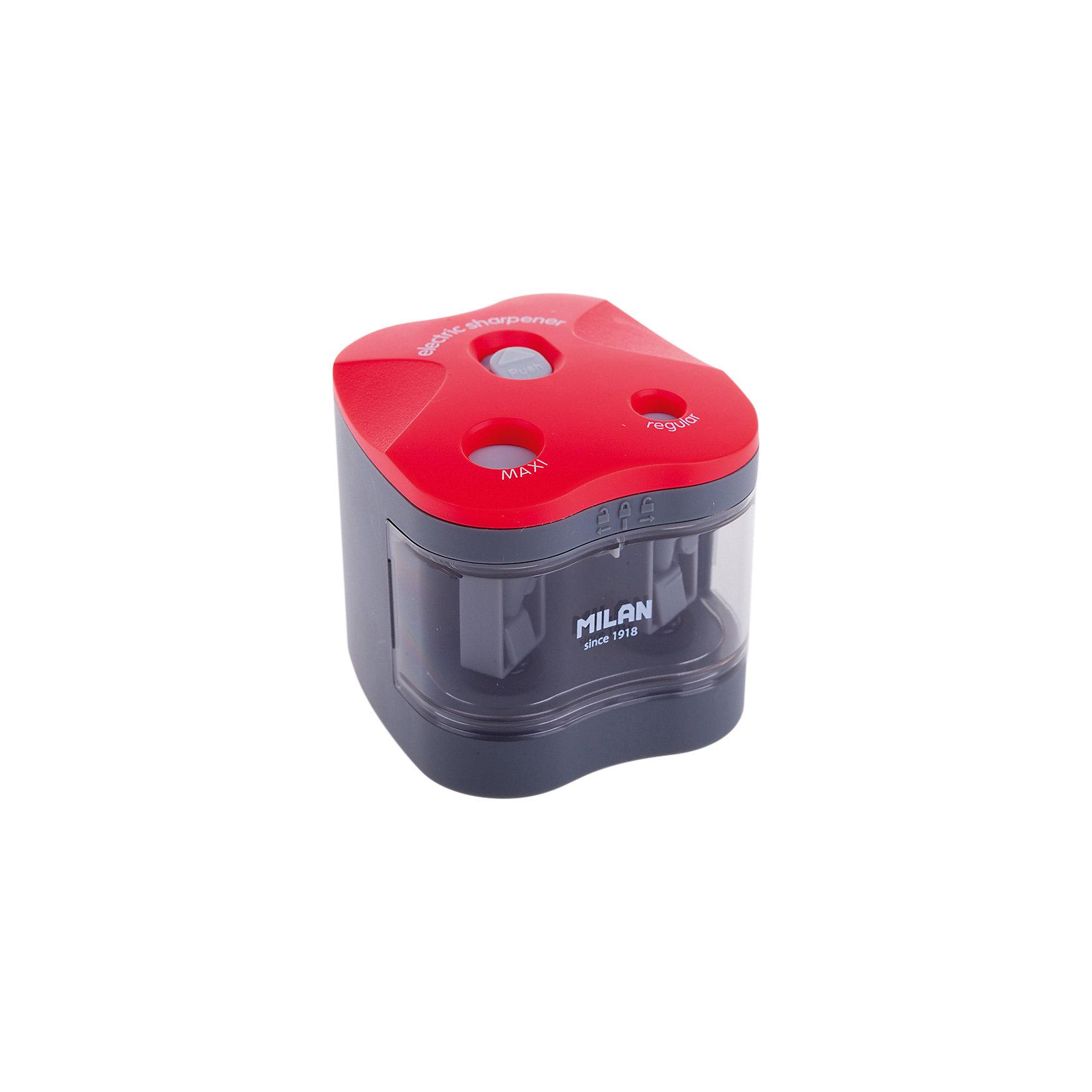 Точилка электрическая Maxi - Regular Milan, 2 отверстияКанцтовары для первоклассников<br>Кол-во отверстий для заточки: 2<br>Размер: 66*64*63<br>Материал корпуса: пластик<br>Питание: 4 батарейки АА<br>Комплектация элементами питания: да<br>Контейнер для стружки: есть<br>Цвет корпуса: серый/красный<br>Диаметр отверстия: 12/8<br>Упаковка ед. товара: блистер<br>Наличие штрихкода на ед. товара: есть<br>Электрическая точилка MILAN. Лезвия острые и устойчивые к повреждению. Точилка идеально подходит для графитовых и цветных карандашей. Съемная передняя крышка для обеспечения утилизации стружки. В блистерной упаковке точилка и 4 батарейки 1,5V<br><br>Ширина мм: 240<br>Глубина мм: 110<br>Высота мм: 80<br>Вес г: 267<br>Возраст от месяцев: 84<br>Возраст до месяцев: 2147483647<br>Пол: Унисекс<br>Возраст: Детский<br>SKU: 7044157
