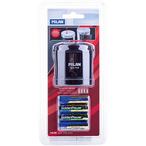 Точилка электрическая Power Sharp Milan, 1 отверстие, цвет в ассортиментеКанцтовары для первоклассников<br>Характеристики товара:<br><br>• возраст: от 7 лет;<br>• цвет корпуса: ассорти;<br>• материал корпуса: пластик;<br>• размер: 6,7х6,6х6,6 см;<br>• кол-во отверстий для заточки: 1;<br>• контейнер для стружки;<br>• питание: 4 батарейки АА;<br>• комплектация элементами питания: да;<br>• диаметр отверстия: 8;<br>• упаковка: блистер;<br>• размер упаковки: 24х11х8см;<br>• вес: 289 гр.;<br>• страна производитель: Испания.<br><br>Модель отличается лаконичным стилем и сделана по новейшим технологиям с учетом последних тенденций в области дизайна в экспериментальной лаборатории MILAN. <br><br>Конструкция лезвия точилки абсолютно безопасна, в создании точилок<br>использованы только качественные материалы. Модель Powersharp идеальна для школы и офиса. Модель работает на батарейке 1,5 V.<br><br>Электрическую точилку «Power Sharp» Milan, 1 отверстие, можно купить в нашем интернет-магазине.<br>Ширина мм: 240; Глубина мм: 110; Высота мм: 80; Вес г: 289; Возраст от месяцев: 84; Возраст до месяцев: 2147483647; Пол: Унисекс; Возраст: Детский; SKU: 7044158;