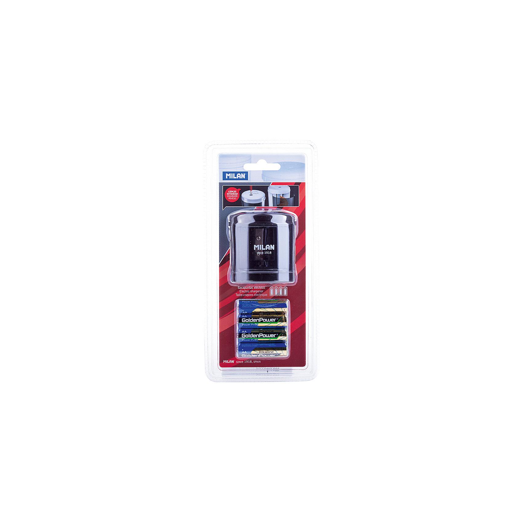 Точилка электрическая Power Sharp Milan, 1 отверстие, цвет в ассортиментеПисьменные принадлежности<br>Кол-во отверстий для заточки: 1 <br>Размер: 67*66*66<br>Материал корпуса: пластик<br>Питание: 4 батарейки АА<br>Комплектация элементами питания: да<br>Контейнер для стружки: есть<br>Цвет корпуса: ассорти<br>Диаметр отверстия: 8<br>Упаковка ед. товара: блистер<br>Наличие штрихкода на ед. товара: есть<br>Модель отличается лаконичным стилем и сделана<br>по новейшим технологиям с учетом последних<br>тенденций в области дизайна в экспериментальной<br>лаборатории MILAN. Конструкция лезвия точилки<br>абсолютно безопасна, в создании точилок<br>использованы только качественные материалы.<br>Модель Powersharp идеальна для школы и офиса.<br>Модель работает на батарейке 1,5 V.<br>Страна-производитель: Испания<br>Страна-производитель: Тайвань<br>Металлические точилки клиновидной формы. Безупречная работа с<br>любой текстурой древесины.<br>Качественная<br><br>Ширина мм: 240<br>Глубина мм: 110<br>Высота мм: 80<br>Вес г: 289<br>Возраст от месяцев: 84<br>Возраст до месяцев: 2147483647<br>Пол: Унисекс<br>Возраст: Детский<br>SKU: 7044158