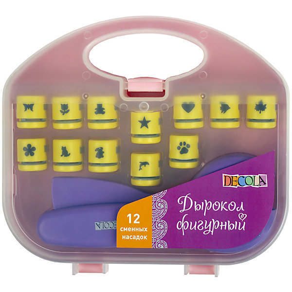 Дырокол фигурный со сменными насадками ЗХКТовары для скрапбукинга<br>Характеристики товара:<br><br>• возраст: от 7 лет;<br>• тип: дырокол;<br>• количество предметов: 13 шт.;<br>• состав набора: дырокол, сменные насадки с вырубкой 1 см.;.<br>• материал: пластик;<br>• назначение: для скапбукинга; <br>• упаковка: картонная коробка;<br>• размер упаковки: 26х24х5 см.;<br>• вес: 447 гр.;<br>• страна обладатель бренда: Китай.<br><br>Фигурный дырокол cо сменными насадками предназначен для создания перфорации сложной формы элементов из бумаги. <br><br>Применяется при оформлении подарков, декорировании открыток, фоторамок, пригласительных. Поместите лист бумаги в прорезь дырокола и нажмите на рычаг. <br><br>Рекомендуется использовать в работе бумагу плотностью до 200 г/м?. <br><br>Следует регулярно смазывать лезвия дырокола и производить их своевременную заточку, прокомпостировав, фольгу или мелкую наждачную бумагу. <br><br>Рекомендуется использовать бумагу плотностью до 200г/м2.<br><br>Фигурный дырокол  можно купить в нашем интернет-магазине.<br>Ширина мм: 260; Глубина мм: 240; Высота мм: 50; Вес г: 447; Возраст от месяцев: 84; Возраст до месяцев: 2147483647; Пол: Унисекс; Возраст: Детский; SKU: 7044177;