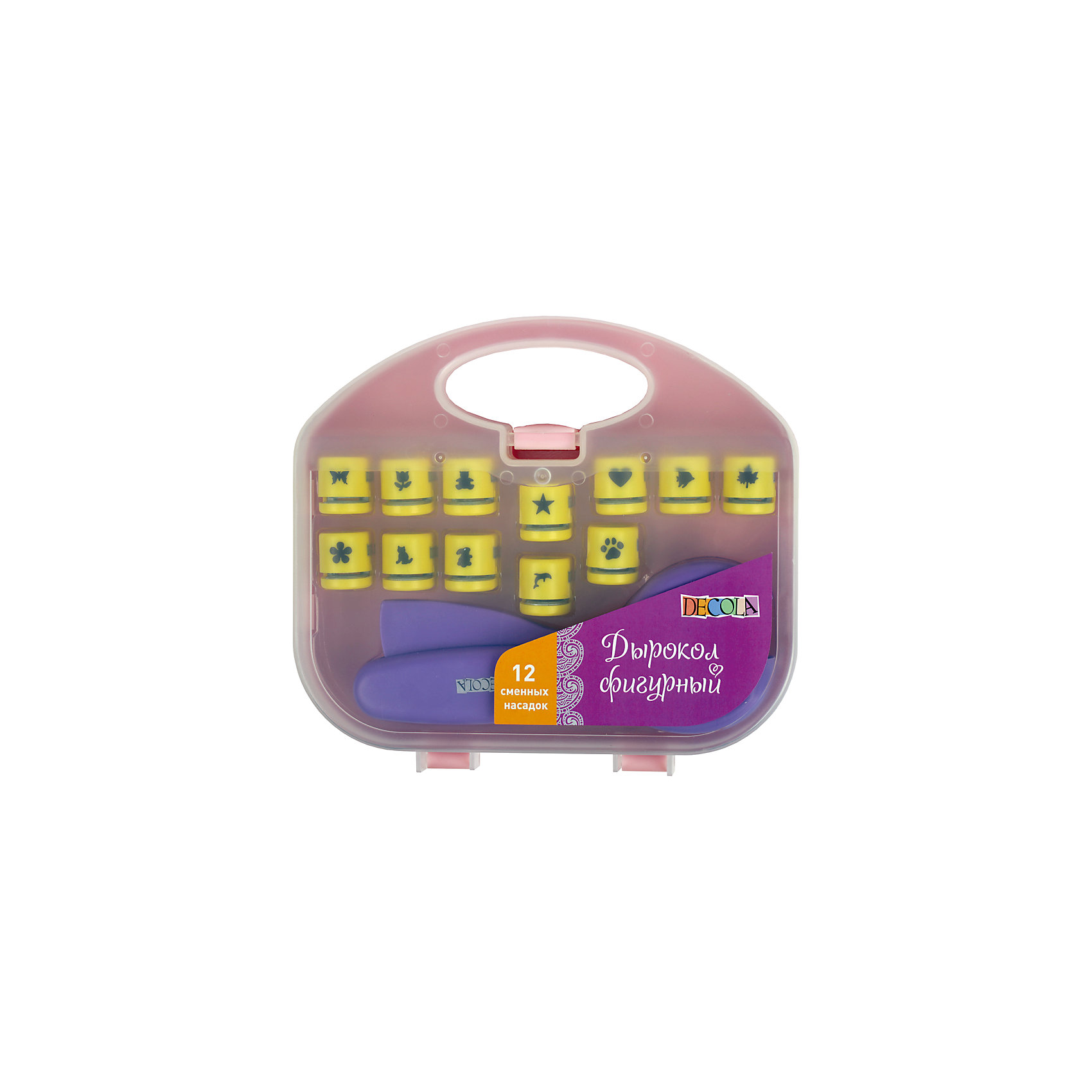 Дырокол фигурный со сменными насадками ЗХКБумага<br>Назначение: для скрапбукинга<br>Тип: дырокол<br>Материал: пластик<br>Количество предметов: 13 <br>Возраст: старше 5 лет<br>Упаковка ед. товара: пластиковый чемодан<br>Фигурный дырокол cо сменными насадками предназначен для создания перфорации сложной формы элементов из бумаги. Применяется при оформлении подарков, декорировании открыток, фоторамок, пригласительных. Поместите лист бумаги в прорезь дырокола и нажмите на рычаг. Рекомендуется  использовать в работе бумагу плотностью до 200 г/м?. Следует регулярно смазывать лезвия дырокола и производить их своевременную заточку, прокомпостировав, фольгу или мелкую наждачную бумагу. Состав набора: дырокол (1 шт.) + сменные насадки с вырубкой 1 см (12 шт.).<br><br>Ширина мм: 260<br>Глубина мм: 240<br>Высота мм: 50<br>Вес г: 447<br>Возраст от месяцев: 84<br>Возраст до месяцев: 2147483647<br>Пол: Унисекс<br>Возраст: Детский<br>SKU: 7044177