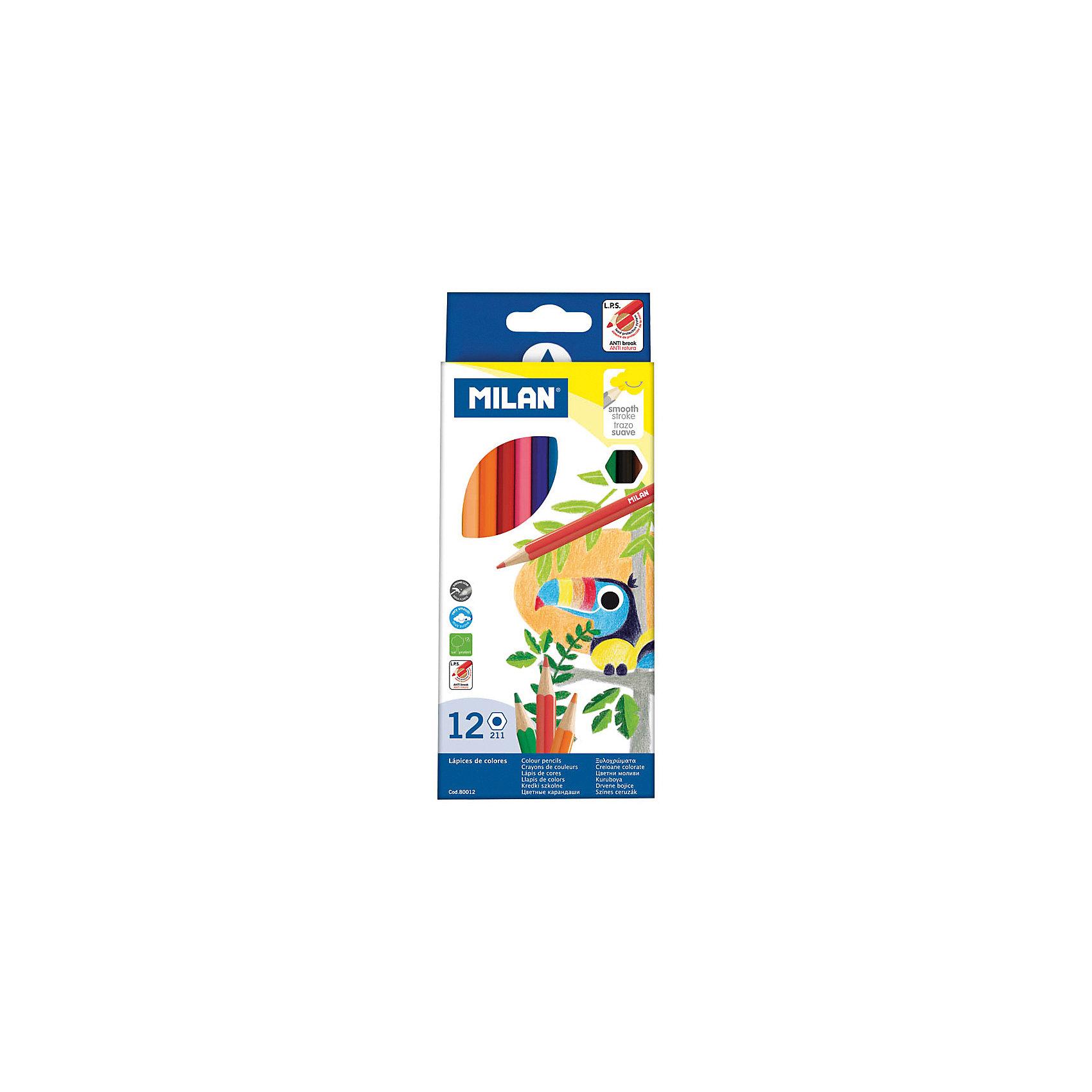 Карандаши 211 12 цветов MilanПисьменные принадлежности<br>Количество цветов: 12 <br>Материал корпуса: дерево<br>Диаметр корпуса: 6,4<br>Форма корпуса: шестигранная<br>Заточено: да<br>Длина: 174<br>Диаметр грифеля: 2,9<br>Упаковка ед. товара: картонная коробка<br>Ударопрочный грифель: да<br>Наличие европодвеса: есть<br>Наличие штрихкода на ед. товара: есть<br><br>Ширина мм: 85<br>Глубина мм: 8<br>Высота мм: 210<br>Вес г: 76<br>Возраст от месяцев: 36<br>Возраст до месяцев: 2147483647<br>Пол: Унисекс<br>Возраст: Детский<br>SKU: 7044181