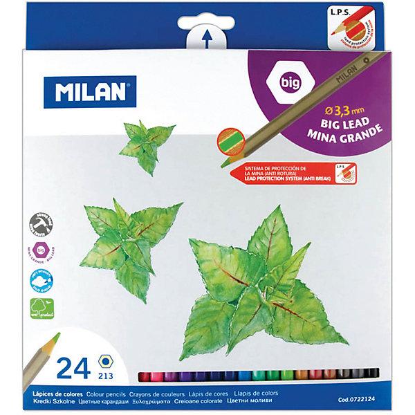 Карандаши 213 24 цвета Milan, утолщенный грифельЦветные<br>Количество цветов: 24<br>Материал корпуса: дерево<br>Диаметр корпуса: 6,4<br>Форма корпуса: шестигранная<br>Заточено: да<br>Длина: 175<br>Диаметр грифеля: 3,3<br>Упаковка ед. товара: картонная коробка<br>Ударопрочный грифель: да<br>Наличие европодвеса: есть<br>Наличие штрихкода на ед. товара: есть<br>Ширина мм: 180; Глубина мм: 190; Высота мм: 10; Вес г: 190; Возраст от месяцев: 36; Возраст до месяцев: 2147483647; Пол: Унисекс; Возраст: Детский; SKU: 7044183;