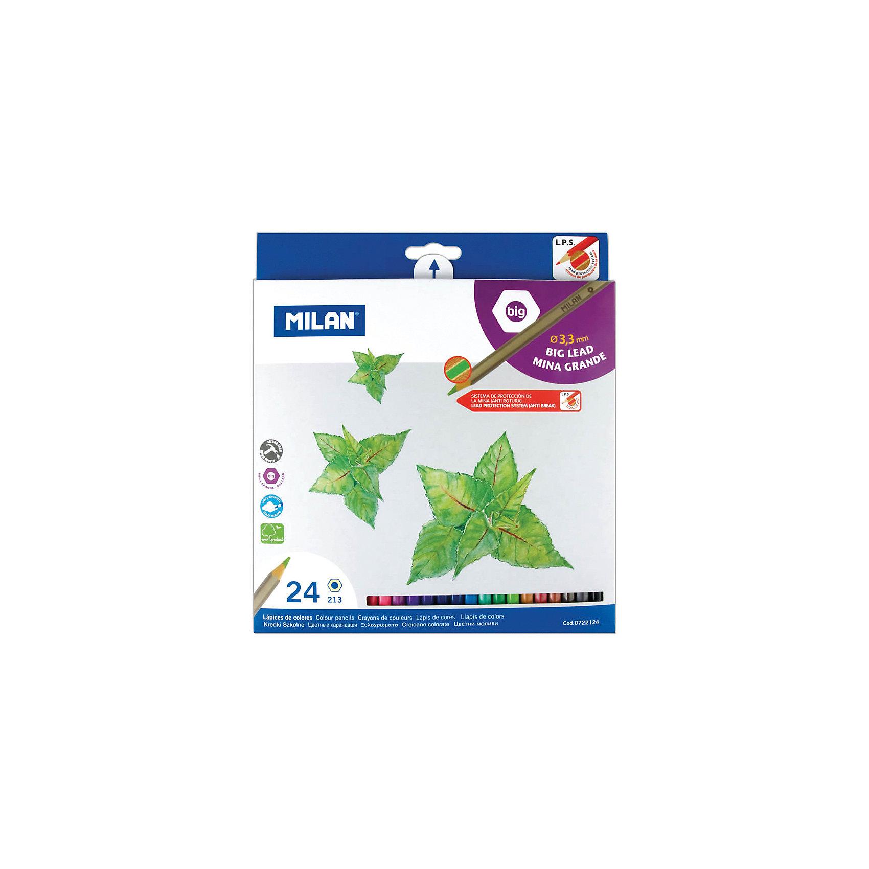 Карандаши 213 24 цвета Milan, утолщенный грифельПисьменные принадлежности<br>Количество цветов: 24<br>Материал корпуса: дерево<br>Диаметр корпуса: 6,4<br>Форма корпуса: шестигранная<br>Заточено: да<br>Длина: 175<br>Диаметр грифеля: 3,3<br>Упаковка ед. товара: картонная коробка<br>Ударопрочный грифель: да<br>Наличие европодвеса: есть<br>Наличие штрихкода на ед. товара: есть<br><br>Ширина мм: 180<br>Глубина мм: 190<br>Высота мм: 10<br>Вес г: 190<br>Возраст от месяцев: 36<br>Возраст до месяцев: 2147483647<br>Пол: Унисекс<br>Возраст: Детский<br>SKU: 7044183