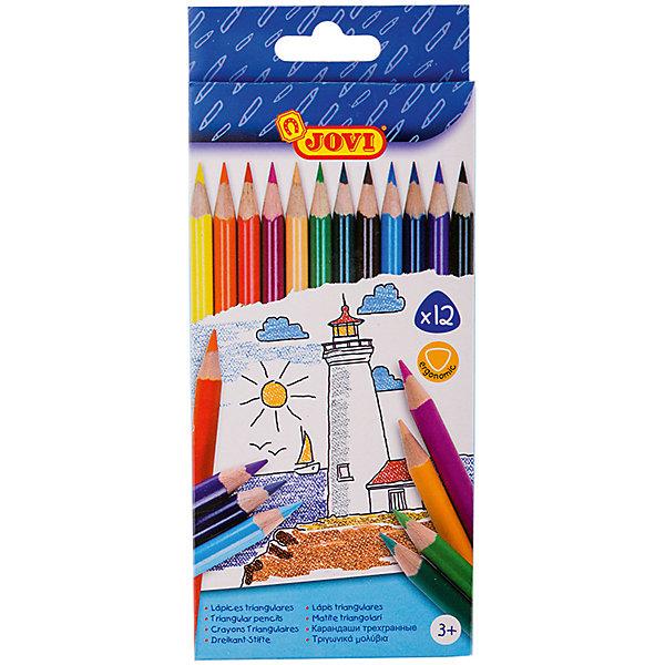 Карандаши 12 цветов JOVI, трехгранныеЦветные<br>Характеристики:<br><br>• материал: дерево;<br>• количество: 12шт.; <br>• упаковка: картон;<br>• размер упаковки: 14х9см.;<br>• вес: 110г.;<br>• для детей в возрасте: от 3лет.;<br>• страна производитель: Испания.<br><br>Набор цветных карандашей бренда Jovi (Джови) станет отличным приобретением для школьников. Он создан из качественных, экологически чистых материалов, что очень важно для детских товаров.<br><br> Набор отлично подойдёт для детишек, любящих рисовать. Он состоит из двенадцати разноцветных трёхгранных карандашей. Цвета очень яркие и насыщенные. Пользоваться ими удобно будет, не только детям, но и взрослым. Упаковкой служит картонка с красивым рисунком.<br><br>Использование набора позволит ребятам не только выполнять качественно школьные задания, но и создавать свои дизайнерские проекты. Развивать чувство стиля, фантазию и аккуратность.<br> <br>Набор цветных трёхгранных карандашей можно купить в нашем интернет-магазине.<br>Ширина мм: 140; Глубина мм: 90; Высота мм: 7; Вес г: 30; Возраст от месяцев: 36; Возраст до месяцев: 2147483647; Пол: Унисекс; Возраст: Детский; SKU: 7044186;