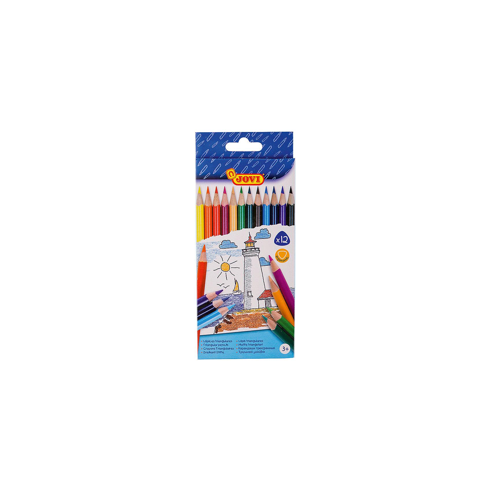 Карандаши 12 цветов JOVI, трехгранныеПисьменные принадлежности<br>Количество цветов: 12 <br>Материал корпуса: дерево<br>Диаметр корпуса: 7,5<br>Форма корпуса: трехгранная<br>Заточено: да<br>Длина: 175<br>Диаметр грифеля: 3<br>Упаковка ед. товара: картонная коробка<br>Ударопрочный грифель: да<br>Наличие европодвеса: есть<br>Наличие штрихкода на ед. товара: есть<br>Треугольные деревянные карандаши толщиной 7,5 мм, длиной 175 мм. Удобная треугольная форма корпуса эргономична, снижает нагрузку на кисти рук. Грифель приклеен к деревянному корпусу, что предохраняет его от поломок при падении. Рисуют на бумаге, ватмане, картоне. Палитра из двенадцати красивых чистых цветов (желтый, красный, телесный, зеленый, голубой, синий, фиолетовый, оранжевый, розовый, темно-зеленый, коричневый, черный).<br><br>Ширина мм: 140<br>Глубина мм: 90<br>Высота мм: 7<br>Вес г: 30<br>Возраст от месяцев: 36<br>Возраст до месяцев: 2147483647<br>Пол: Унисекс<br>Возраст: Детский<br>SKU: 7044186