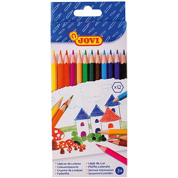 Карандаши 12 цветов JOVIПисьменные принадлежности<br>Характеристики:<br><br>• материал: дерево;<br>• количество: 12шт.; <br>• упаковка: картон;<br>• размер упаковки: 12х10см.;<br>• вес: 110г.;<br>• для детей в возрасте: от 3лет.;<br>• страна производитель: Испания.<br><br>Набор цветных карандашей бренда Jovi (Джови) станет отличным приобретением для школьников. Он создан из качественных, экологически чистых материалов, что очень важно для детских товаров.<br><br> Набор отлично подойдёт для детишек, любящих рисовать. Он состоит из двенадцати разноцветных карандашей. Цвета очень яркие и насыщенные. Пользоваться ими удобно будет, не только детям, но и взрослым. Упаковкой служит картонка с красивым рисунком.<br><br>Использование набора позволит ребятам не только выполнять качественно школьные задания, но и создавать свои дизайнерские проекты. Развивать чувство стиля, фантазию и аккуратность.<br> <br>Набор цветных карандашей можно купить в нашем интернет-магазине.<br>Ширина мм: 170; Глубина мм: 100; Высота мм: 10; Вес г: 100; Возраст от месяцев: 36; Возраст до месяцев: 2147483647; Пол: Унисекс; Возраст: Детский; SKU: 7044187;