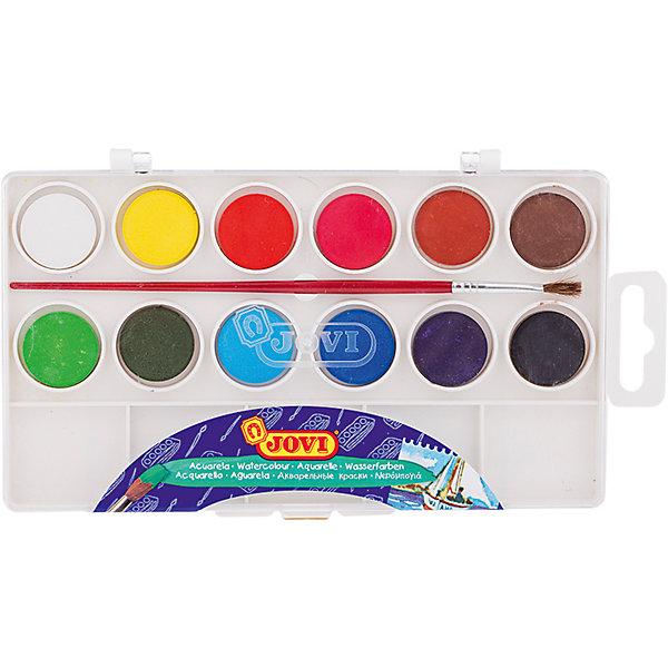 Акварель 12 цветов JOVI, малые кюветы, с кистьюРисование и лепка<br>Тип: акварель<br>Медовая: нет<br>Количество цветов: 12 <br>Кисть: есть<br>Емкость: кювет<br>Наличие европодвеса: есть<br>Упаковка ед. товара: пластиковая коробка<br>Перламутровый эффект: нет<br>Флуоресцентный эффект: нет<br>Золото: нет<br>Серебро: нет<br>Высококачественная акварель для рисования дома, в школе, в художественных студиях, подходит для разных техник рисования. 12 базовых цветов. Краски в коробке с кюветами для воды и  кистью. Спрессованные таблетки диаметром 22 мм (вес 2,9 г) с высоким содержанием пигмента. Гораздо более экономичные, чем полусухая акварель в кюветах. Легко разводятся: при добавлении небольшого количества воды цвета получаются очень насыщенными и яркими, а увеличение количества воды приводит к эффектам, типичным для техники акварели. Хорошо ложатся на поверхность. Могут использоваться для рисования на различных поверхностях: бумаге различной плотности, картоне, для раскрашивания просохших фигурок из пасты для лепки, застывающей на воздухе, или из папье-маше. Краски отстирываются с большинства видов тканей. Страна производства Испания.<br>Ширина мм: 220; Глубина мм: 90; Высота мм: 10; Вес г: 110; Возраст от месяцев: 36; Возраст до месяцев: 2147483647; Пол: Унисекс; Возраст: Детский; SKU: 7044192;