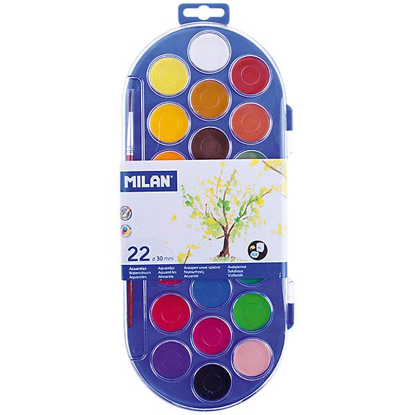 Акварель 22 цвета Milan, с кистьюРисование и лепка<br>Тип: акварель<br>Медовая: да<br>Количество цветов: 22<br>Кисть: есть<br>Емкость: кювет<br>Наличие европодвеса: есть<br>Упаковка ед. товара: пластик<br>Перламутровый эффект: нет<br>Флуоресцентный эффект: нет<br>Золото: нет<br>Серебро: нет<br>Краски представлены в компактных круглых таблетках. Светоустойчивы, изготовлены из  нетоксичных пигментов<br>Ширина мм: 15; Глубина мм: 310; Высота мм: 130; Вес г: 255; Возраст от месяцев: 36; Возраст до месяцев: 2147483647; Пол: Унисекс; Возраст: Детский; SKU: 7044193;